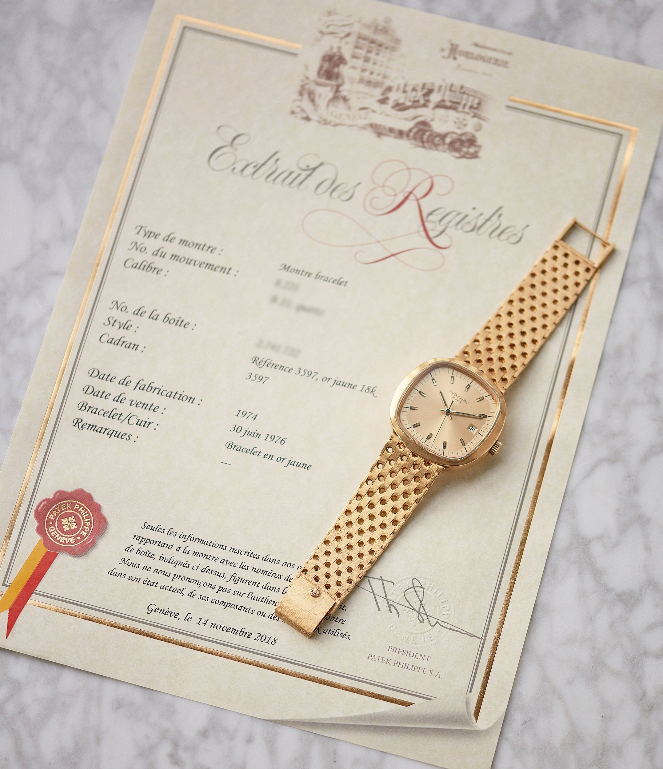 Patek Philippe Archive Extracts 3597 Beta 21 yellow gold 1970s dress watch for sale online A Collected Man London UK specialist of rare watches