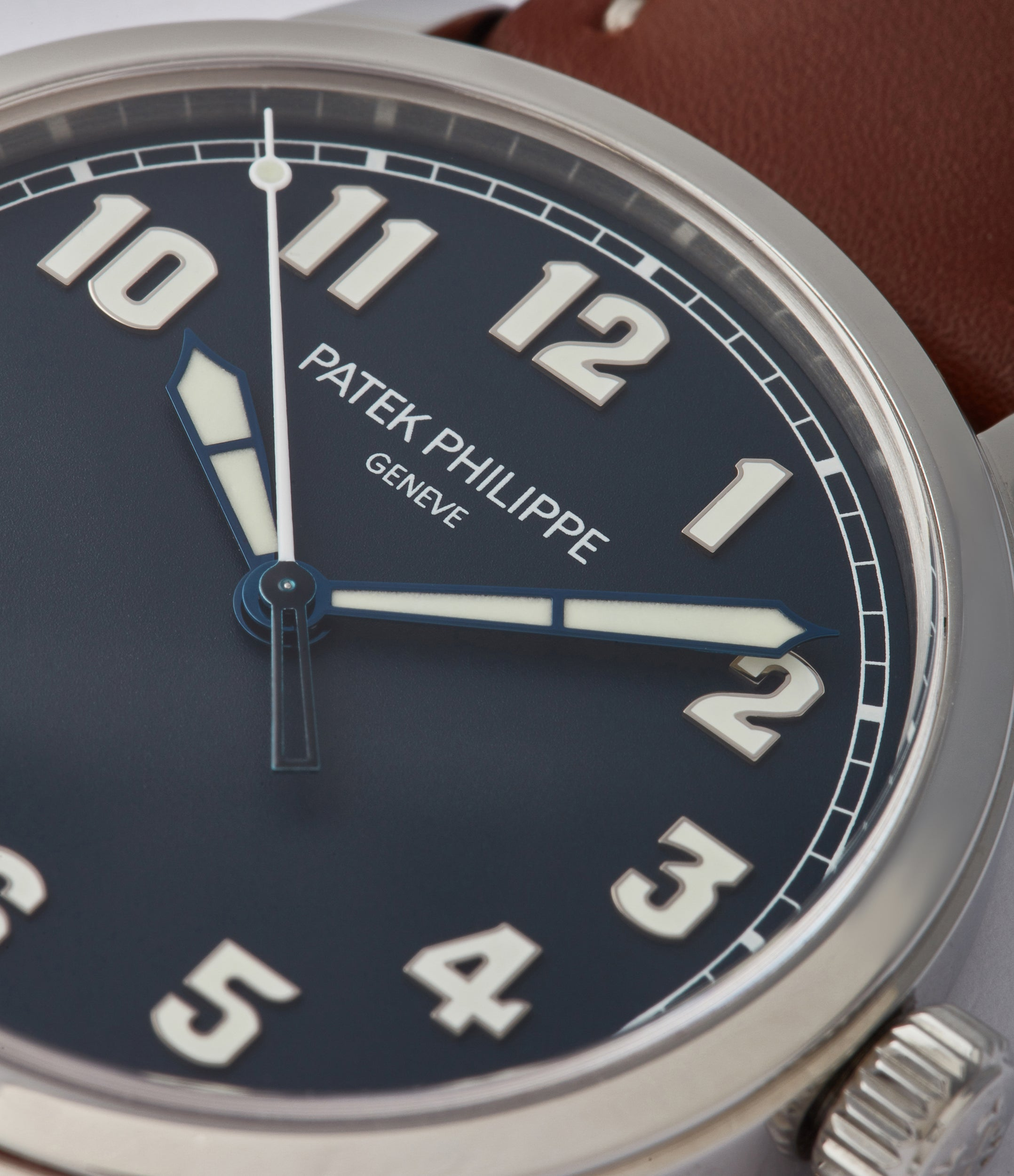 blue lacquer dial Patek Philippe Calatrava Pilot's 5522A-001 time-only pre-owned watch for sale online at A Collected Man London UK specialist