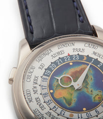rare world map Patek Philippe World Time 5131G enamel dial white gold watch for sale online at A Collected Man London UK specialist of rare watches