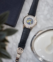 5131 Patek Philippe World Time enamel dial white gold watch for sale online at A Collected Man London UK specialist of rare watches