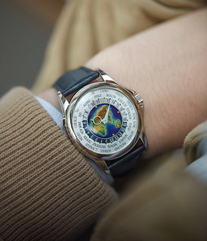 on the wrist Patek Philippe World Time 5131G enamel dial white gold watch for sale online at A Collected Man London UK specialist of rare watches