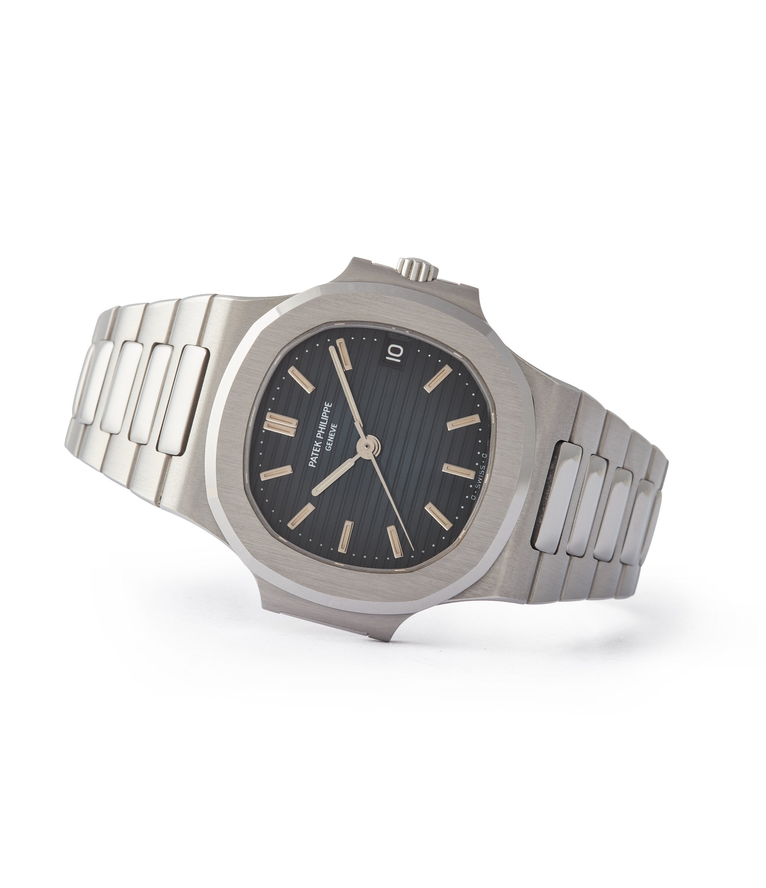 side-shot rare black date disc Patek Philippe Nautilus 3800/1 steel luxury sports watch for sale online A Collected Man London UK specialist of rare watches