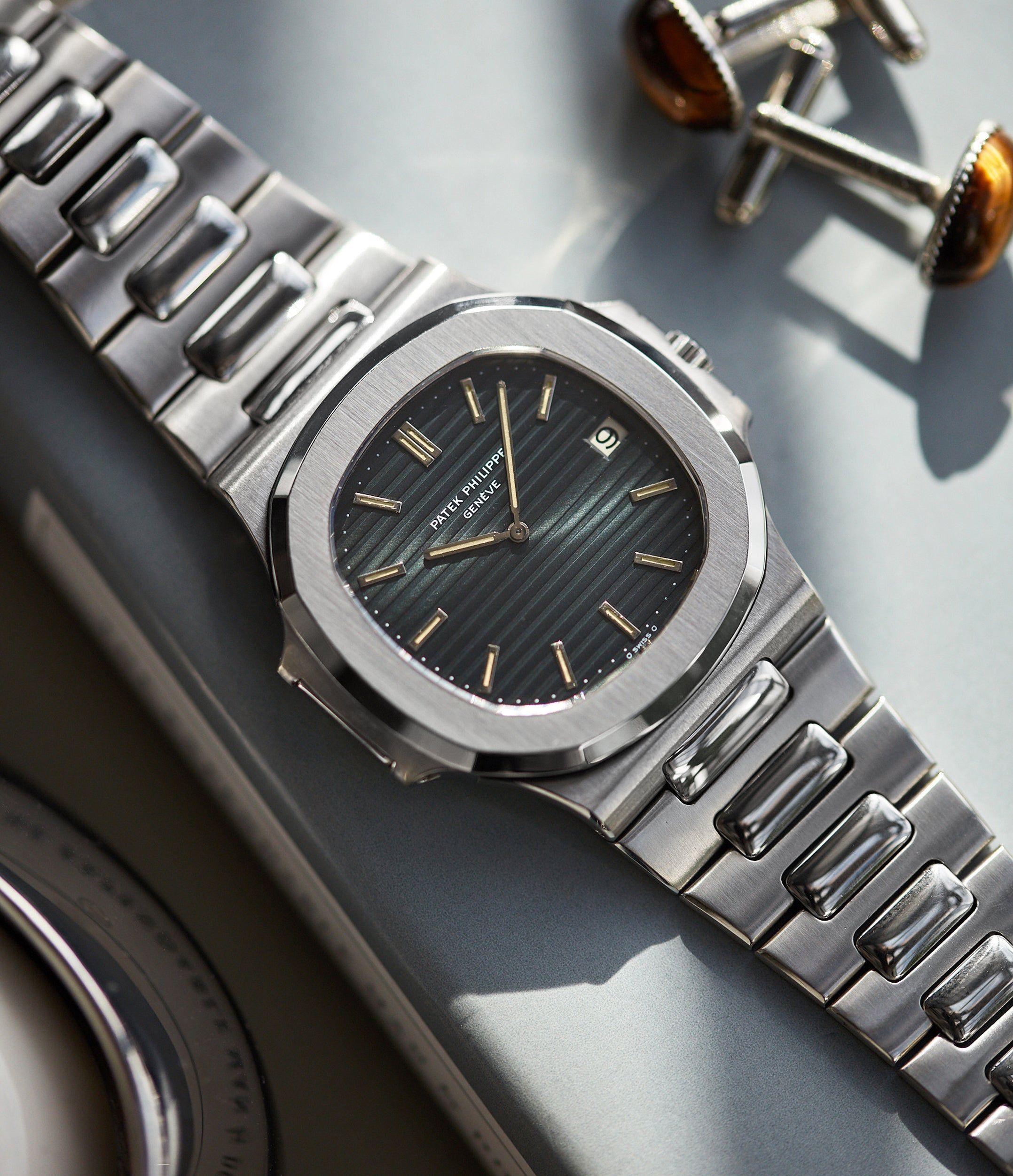 vintage Patek Philippe Nautilus 3700/001A steel Sigma dial luxury sports watch for sale online A Collected Man London UK specialist rare watches