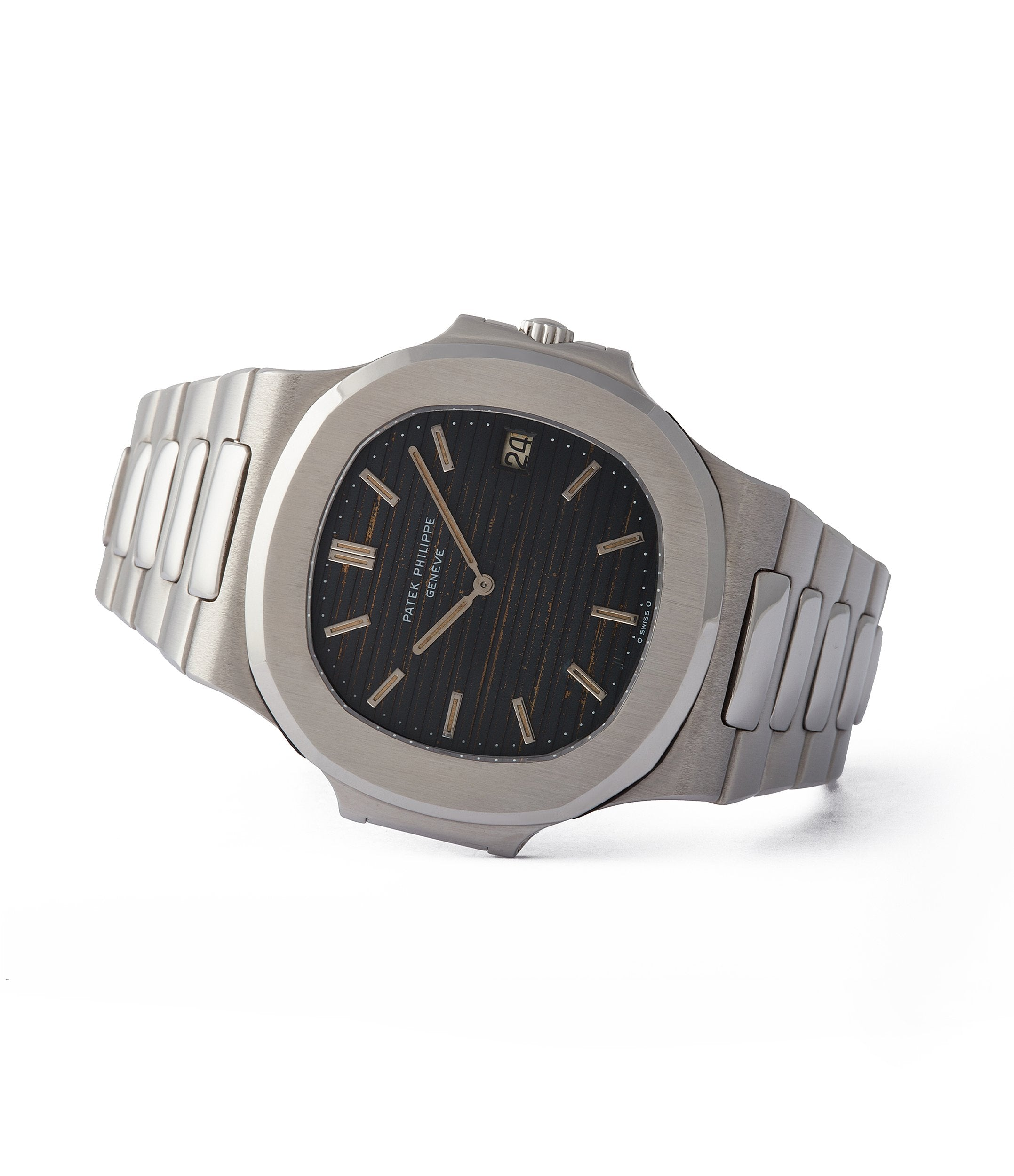 side-shot collect Patek Philippe Nautilus 3700/001A vintage steel tropical dial sports watch for sale online A Collected Man London UK specialist rare watches