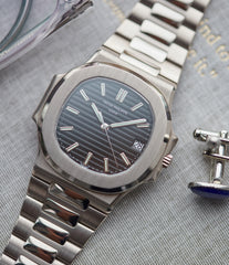 Patek Philippe Nautilus 3711/1G-001 white gold pre-owned watch for sale online at A Collected Man London UK specialist of rare watches