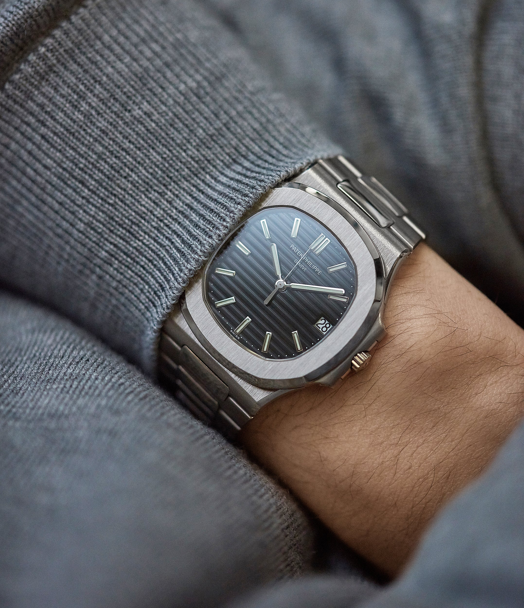 on the wrist Patek Philippe Nautilus 3711/1G-001 white gold pre-owned watch for sale online at A Collected Man London UK specialist of rare watches