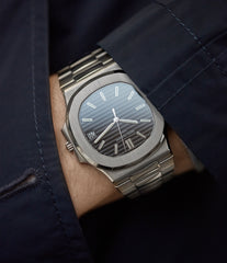 men's luxury wristwatch Patek Philippe Nautilus 3711/1G-001 white gold pre-owned watch for sale online at A Collected Man London UK specialist of rare watches
