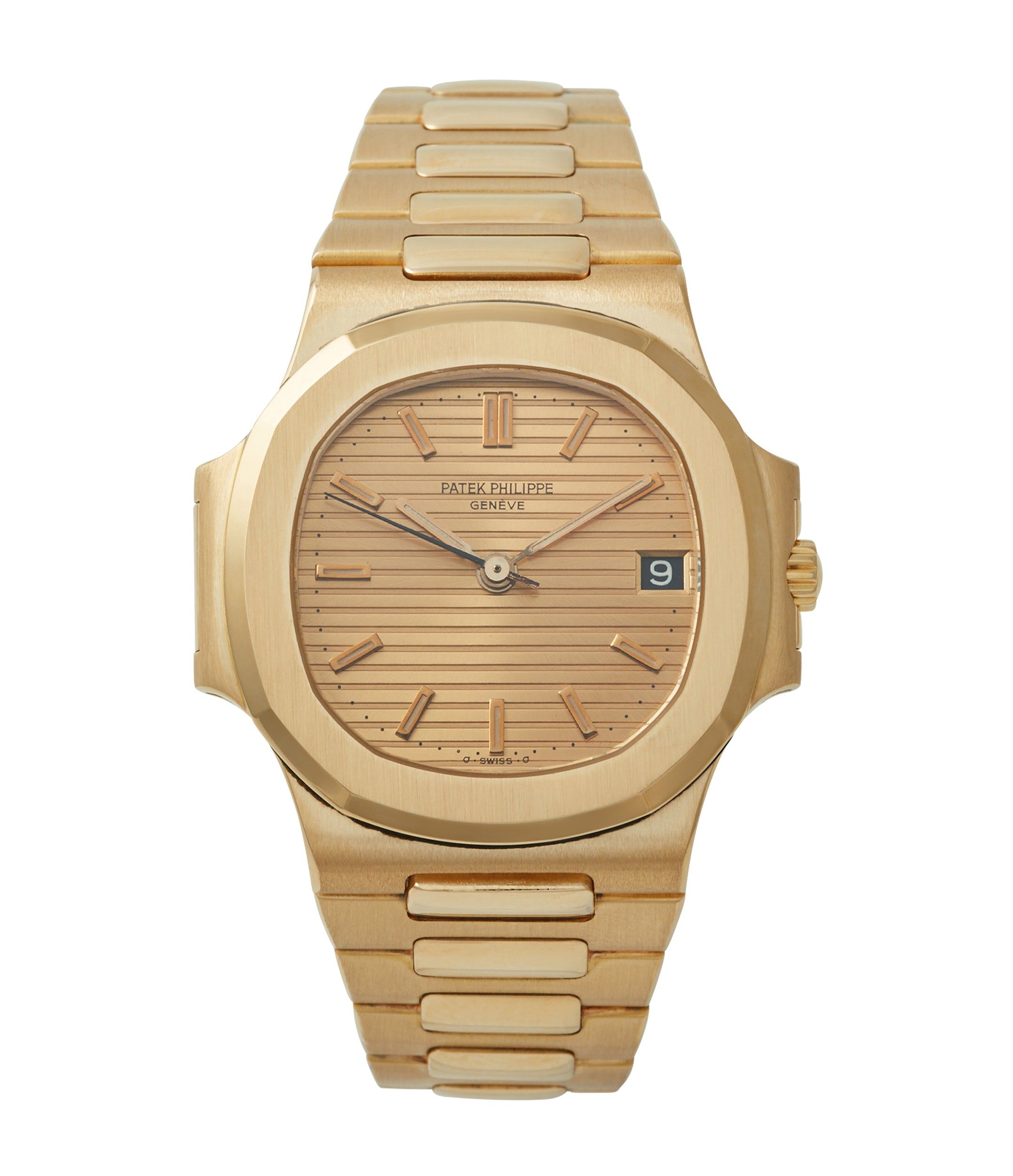 3800 Patek Philippe Nautilus yellow gold dark date disc luxury sports watch for sale online A Collected Man London UK specialist rare watches