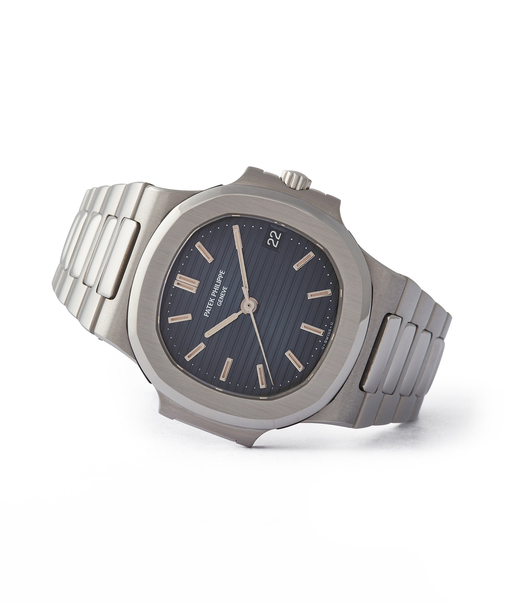 side-shot collectable Patek Philippe Nautilus 3800 Sigma dial steel luxury sports watch for sale online A Collected Man London UK specialist rare watches
