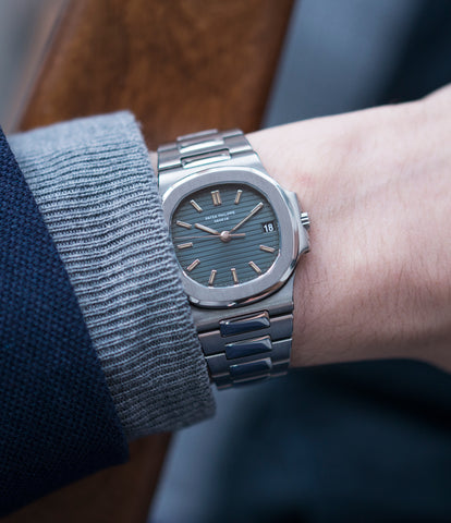 on the wrist Patek Philippe Nautilus 3800/1 steel vintage luxury watch online at A Collected Man London UK specialised  seller of rare watches