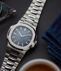 Patek Philippe Jumbo Nautilus 5711/1A-001 steel pre-owned sport watch for sale online at A Collected Man London UK specialist of rare watches