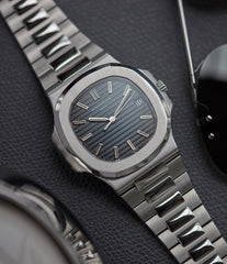 5711/1A-001 Patek Philippe Jumbo Nautilus steel pre-owned sport watch for sale online at A Collected Man London UK specialist of rare watches