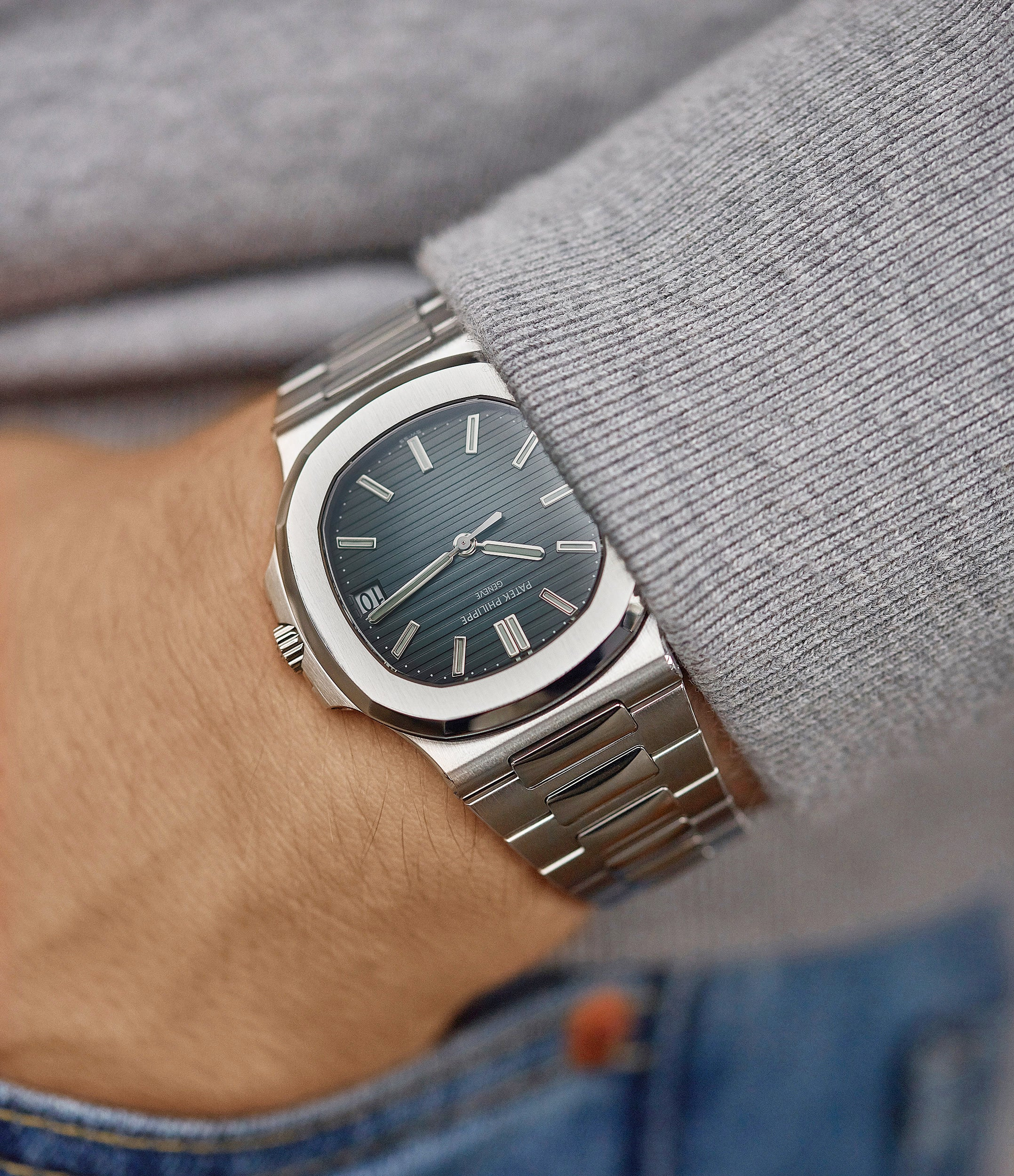 on the wrist Patek Philippe Jumbo Nautilus 5711/1A-001 steel pre-owned sport watch for sale online at A Collected Man London UK specialist of rare watches