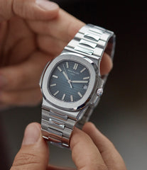 hands-on with Patek Philippe Jumbo Nautilus 5711/1A-001 steel pre-owned sport watch for sale online at A Collected Man London UK specialist of rare watches