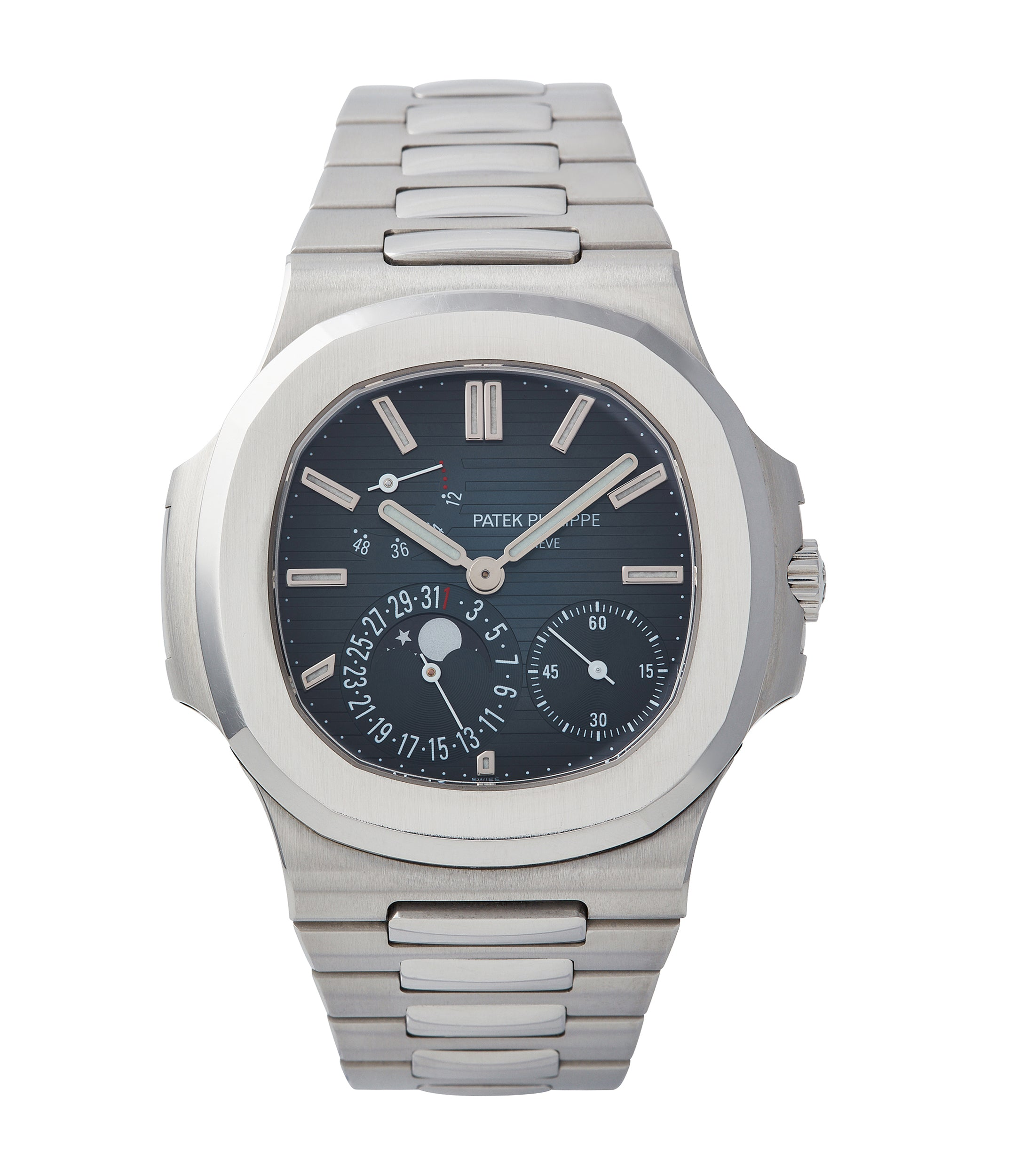 buy Patek Philippe Nautilus 5712/1A-001 steel moon phase luxury sports watch for sale online A Collected Man London UK specialist rare watches