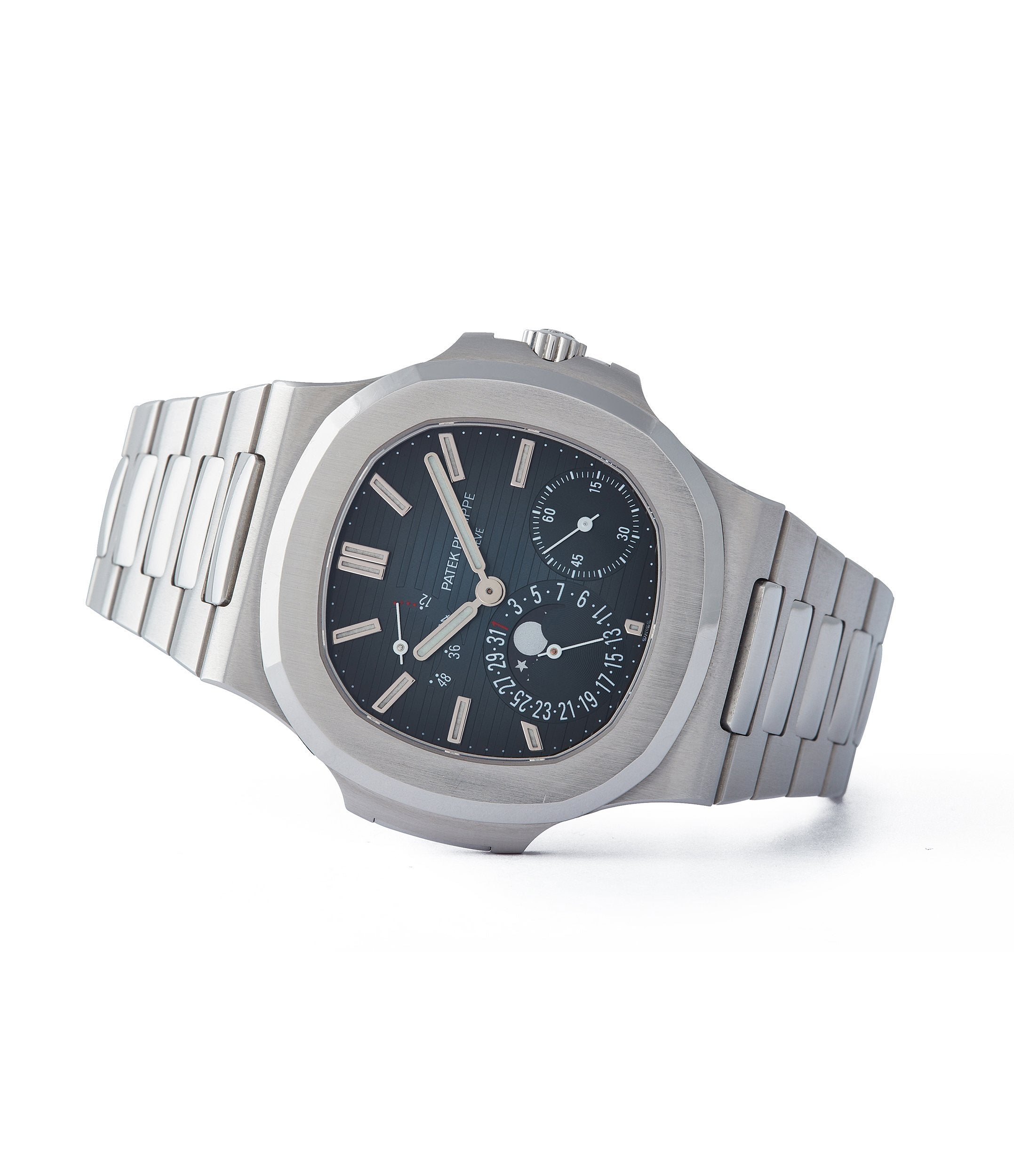 side-shot rare Patek Philippe Nautilus 5712/1A-001 steel moon phase luxury sports watch for sale online A Collected Man London UK specialist rare watches