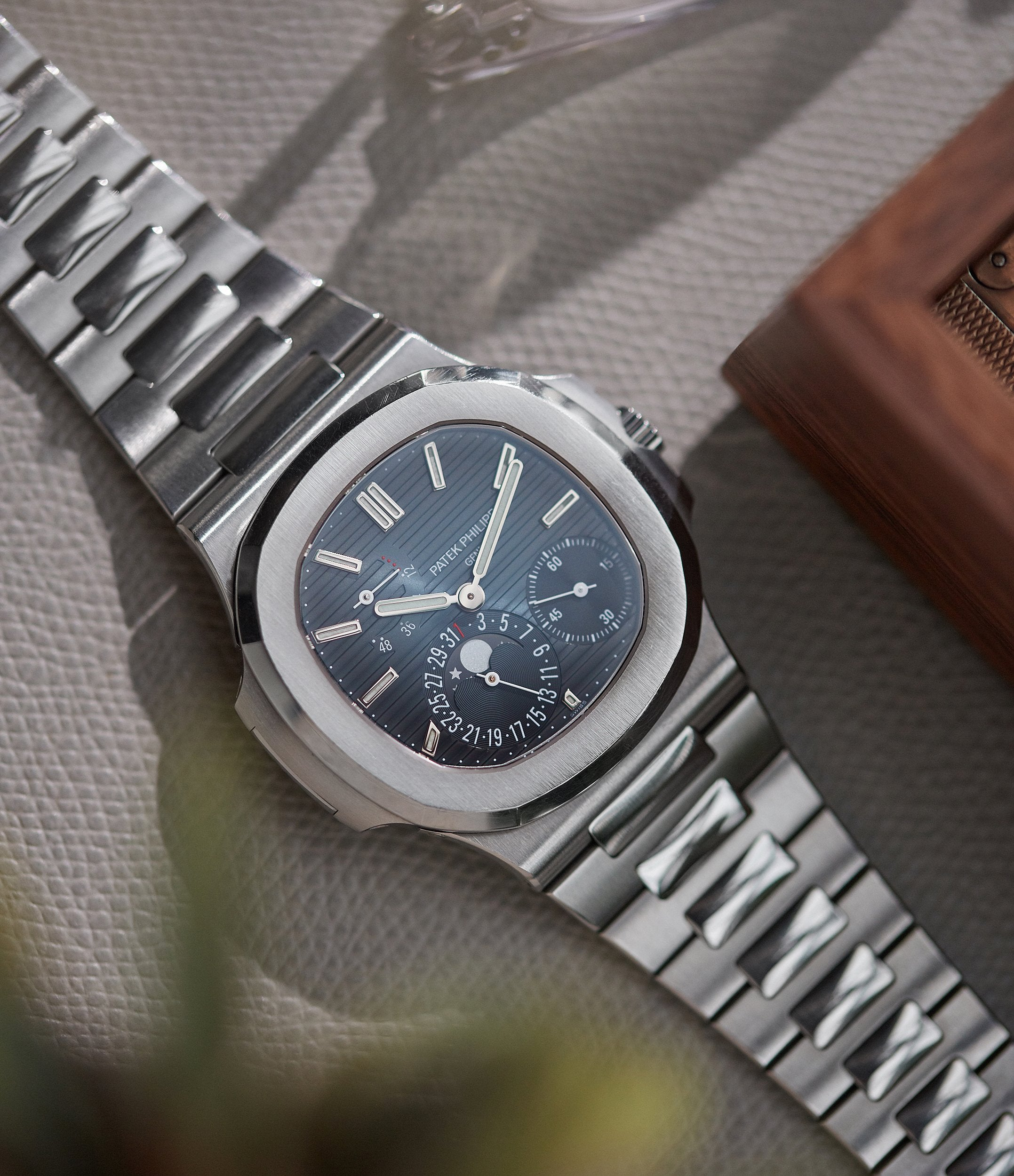 second-hand Patek Philippe Nautilus 5712/1A-001 steel moon phase luxury sports watch for sale online A Collected Man London UK specialist rare watches