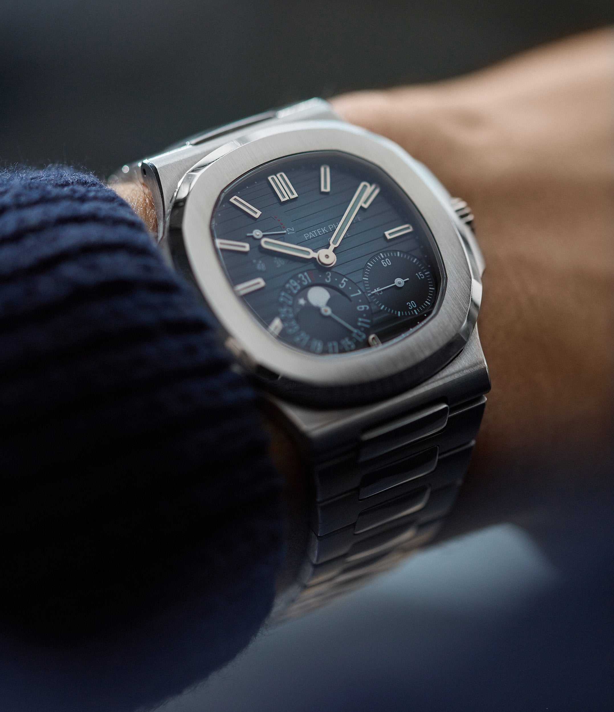 shop Patek Philippe Nautilus 5712/1A-001 steel moon phase luxury sports watch for sale online A Collected Man London UK specialist rare watches