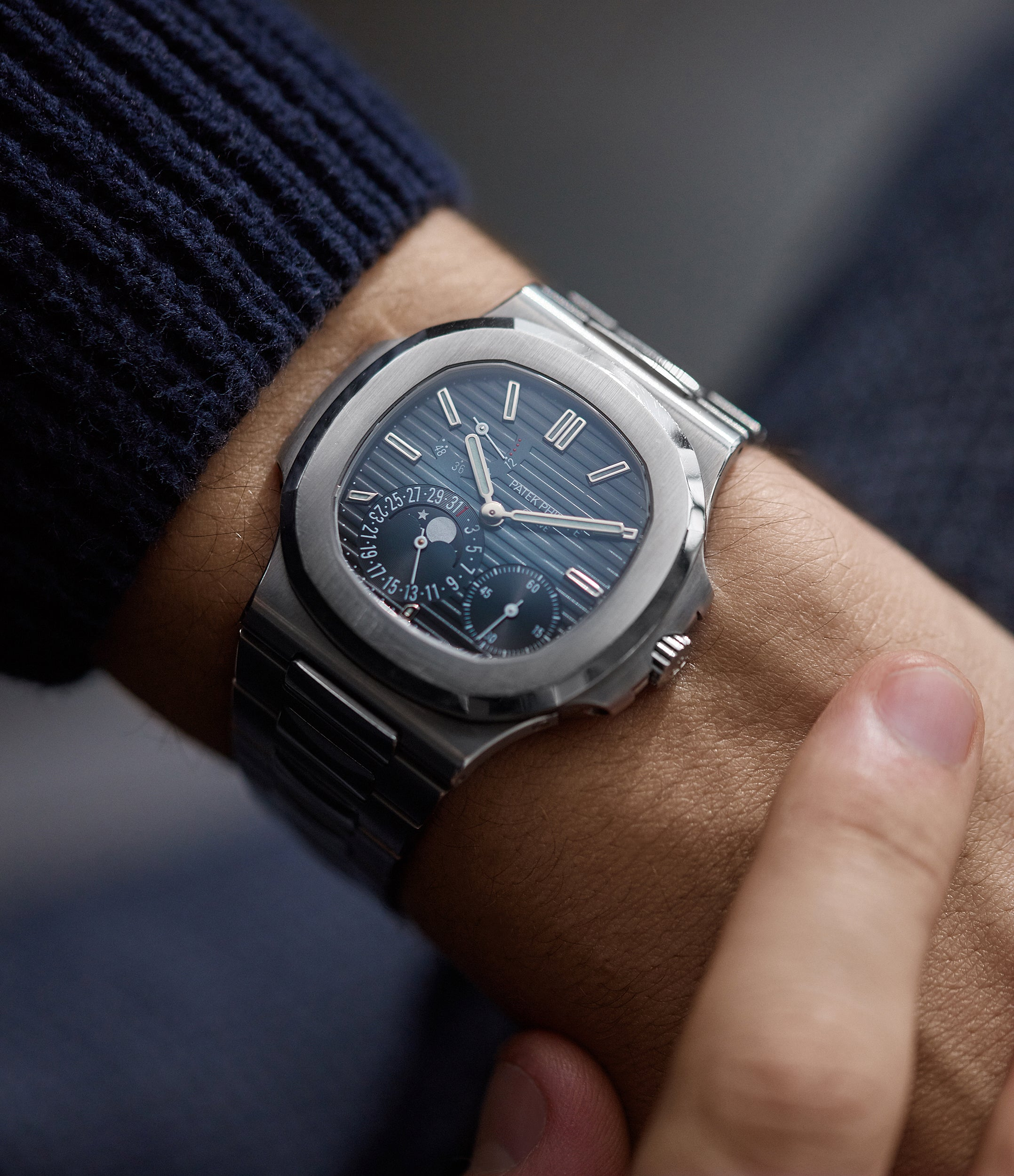 Patek Philippe Nautilus 5712/1A-001 steel moon phase luxury sports watch for sale online A Collected Man London UK specialist rare watches