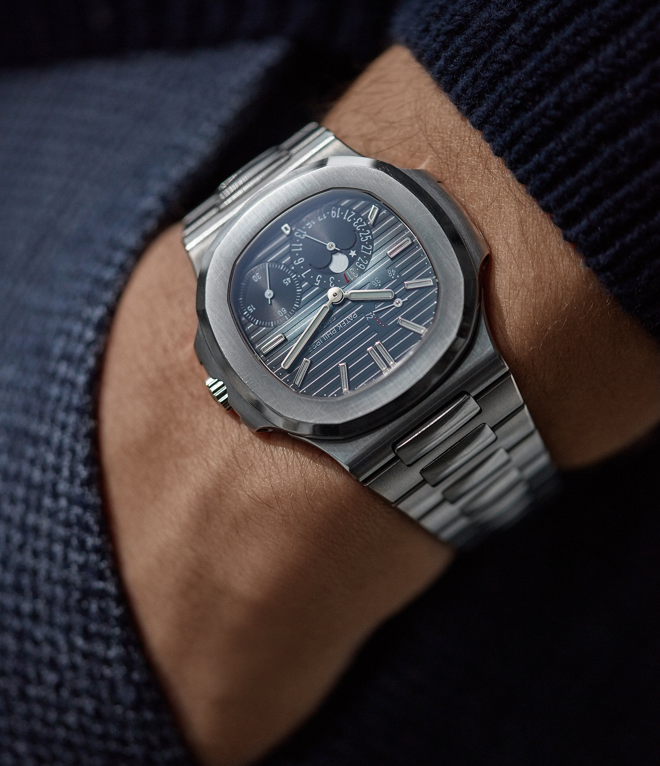 men's luxury sport watch Patek Philippe Nautilus 5712/1A-001 steel moon phase for sale online A Collected Man London UK specialist rare watches