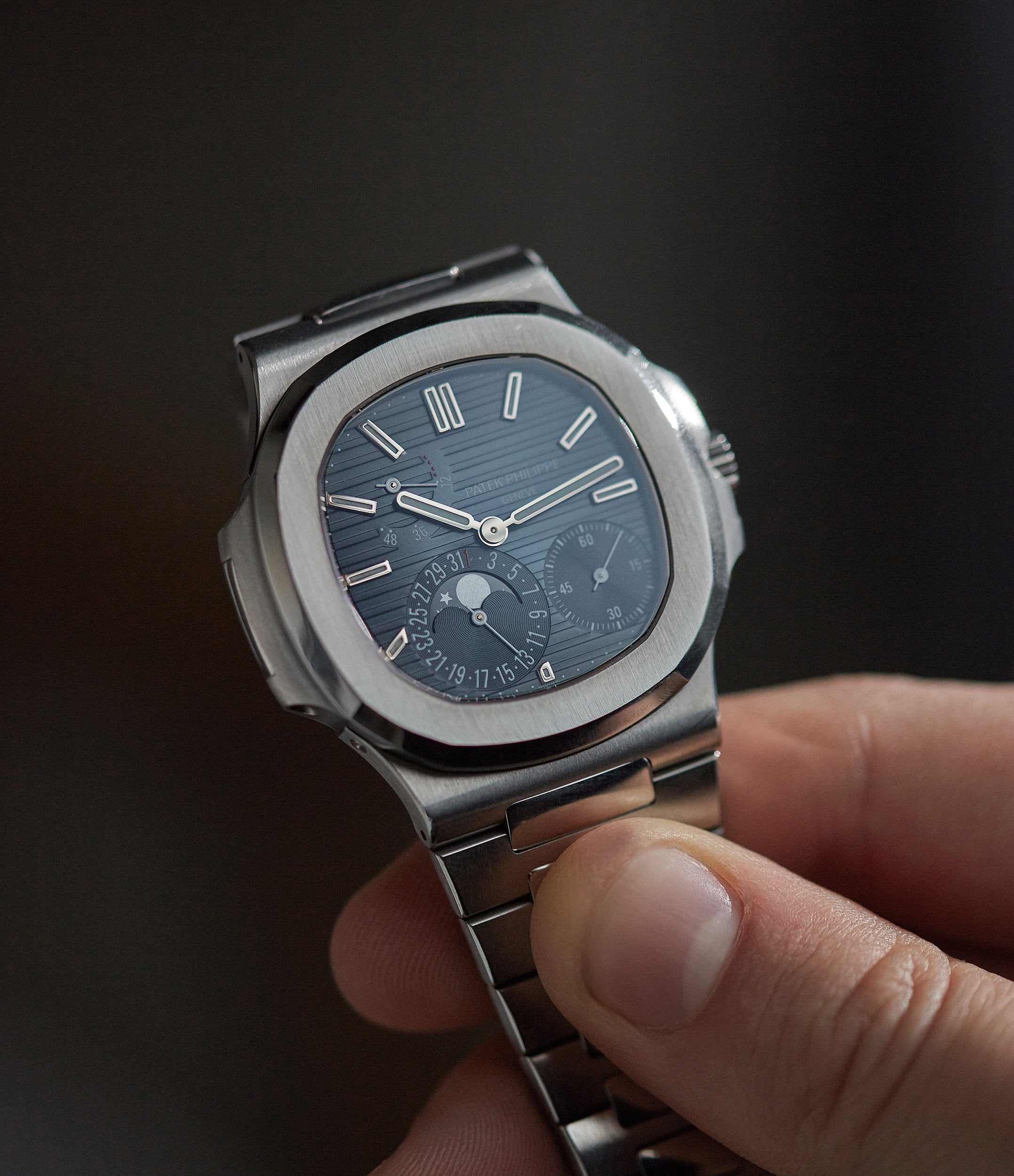 5712 Patek Philippe Nautilus 5712/1A-001 steel moon phase luxury sports watch for sale online A Collected Man London UK specialist rare watches