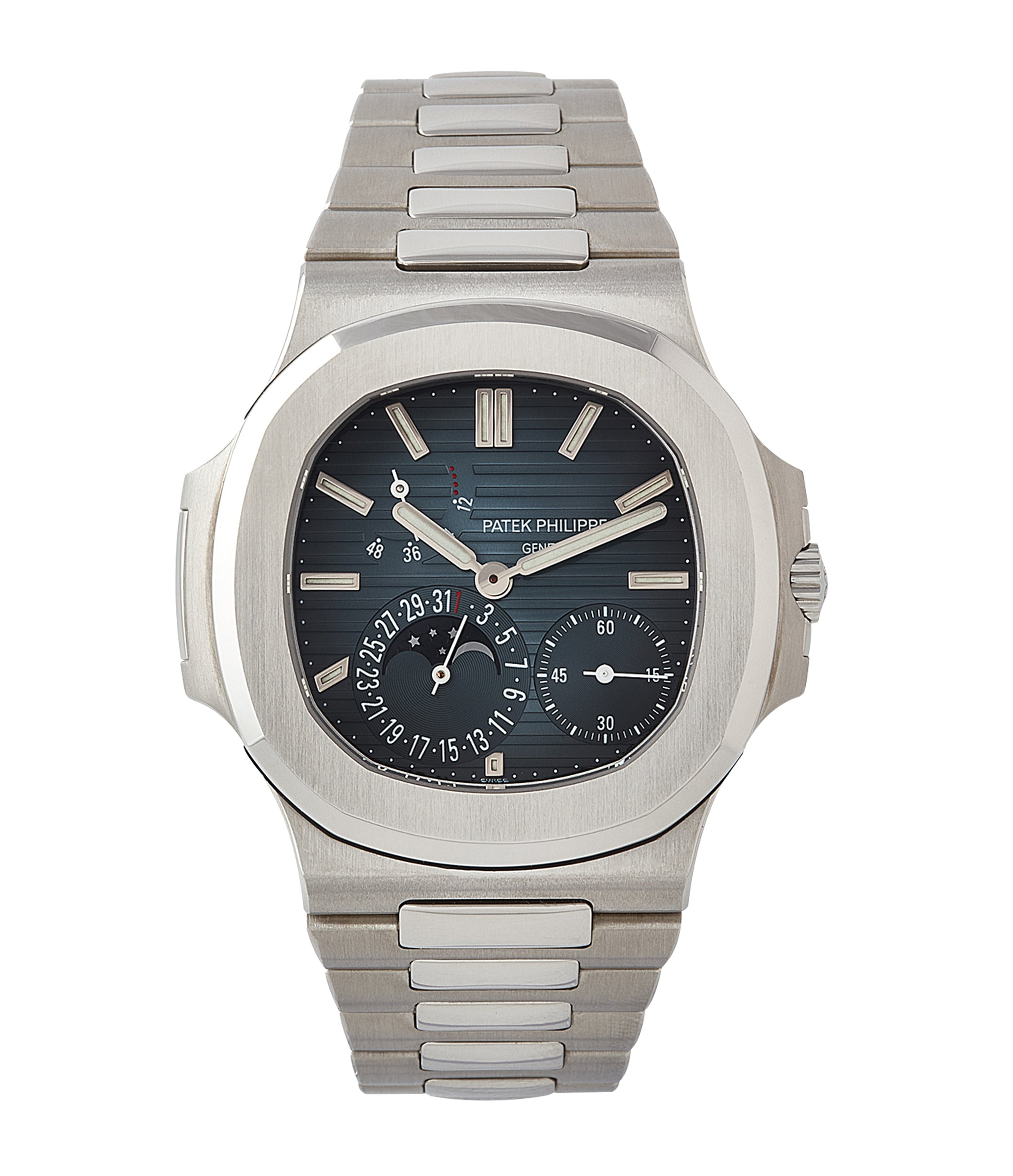 buy Patek Philippe Nautilus Moon Phase 5712/1A-001 steel pre-owned watch for sale online at A Collected Man London UK specialist of rare watches