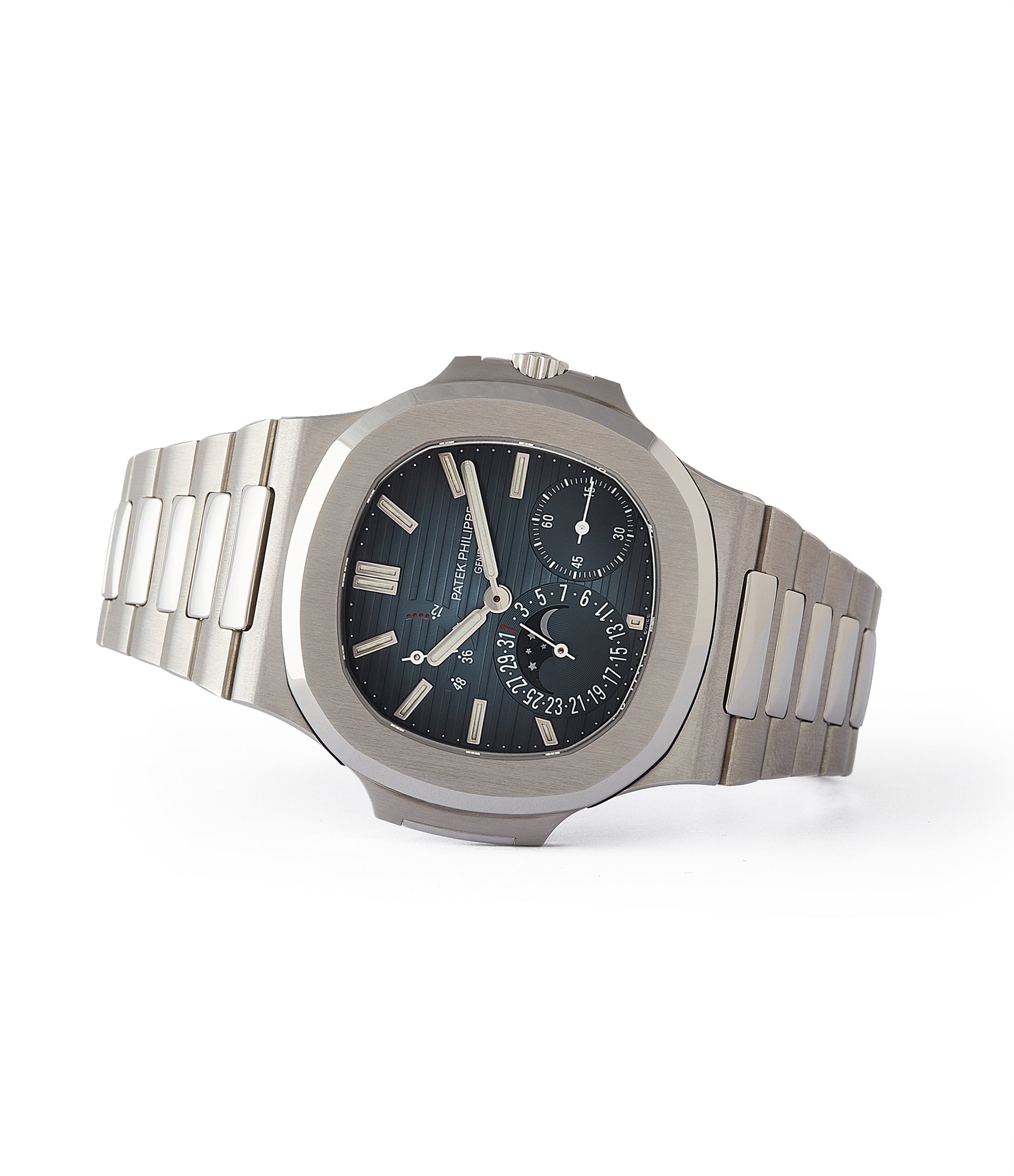 side-shot pre-owned Patek Philippe Nautilus Moon Phase 5712/1A-001 steel pre-owned watch for sale online at A Collected Man London UK specialist of rare watches