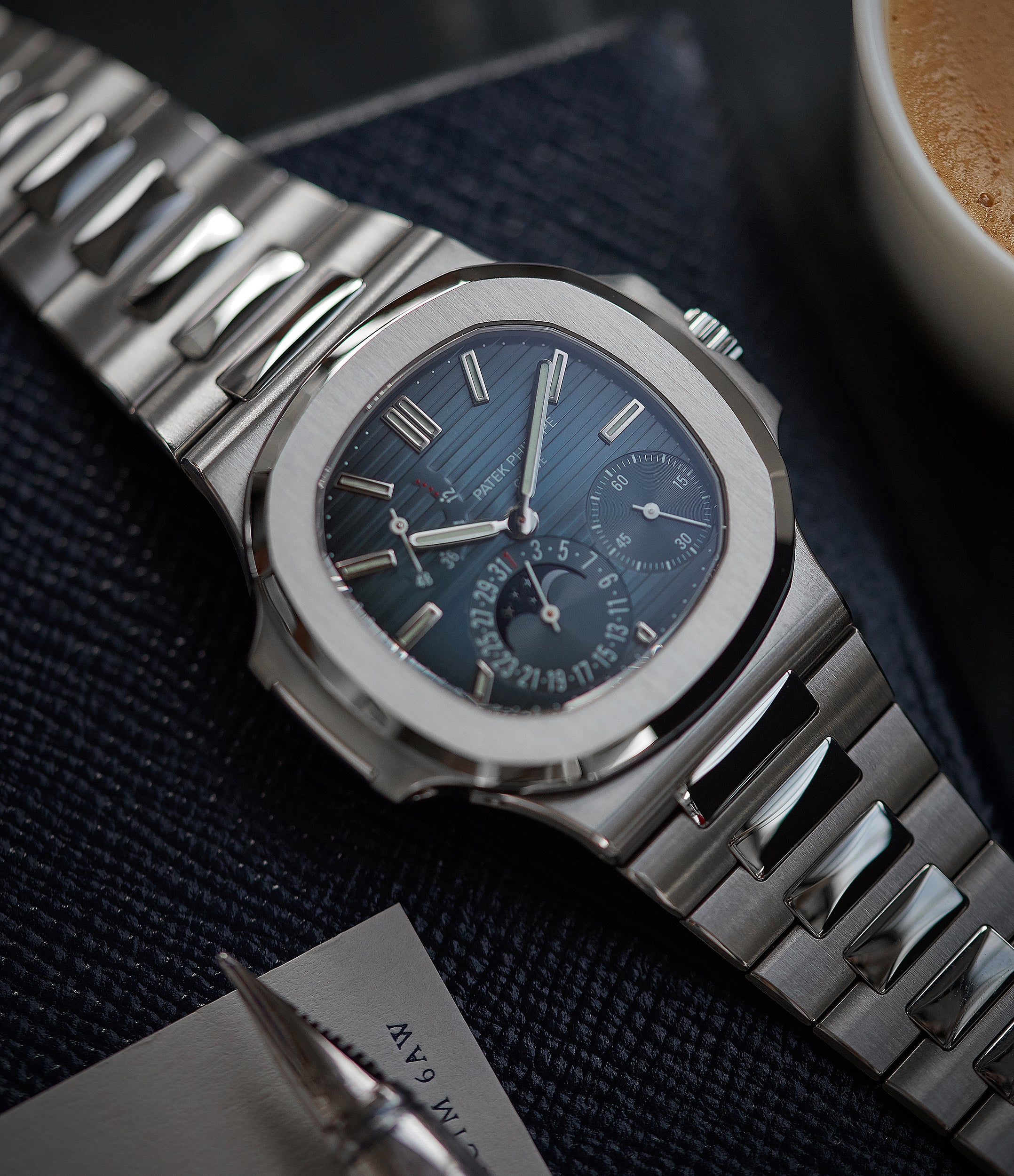 for sale Patek Philippe Nautilus Moon Phase 5712/1A-001 steel pre-owned watch for sale online at A Collected Man London UK specialist of rare watches