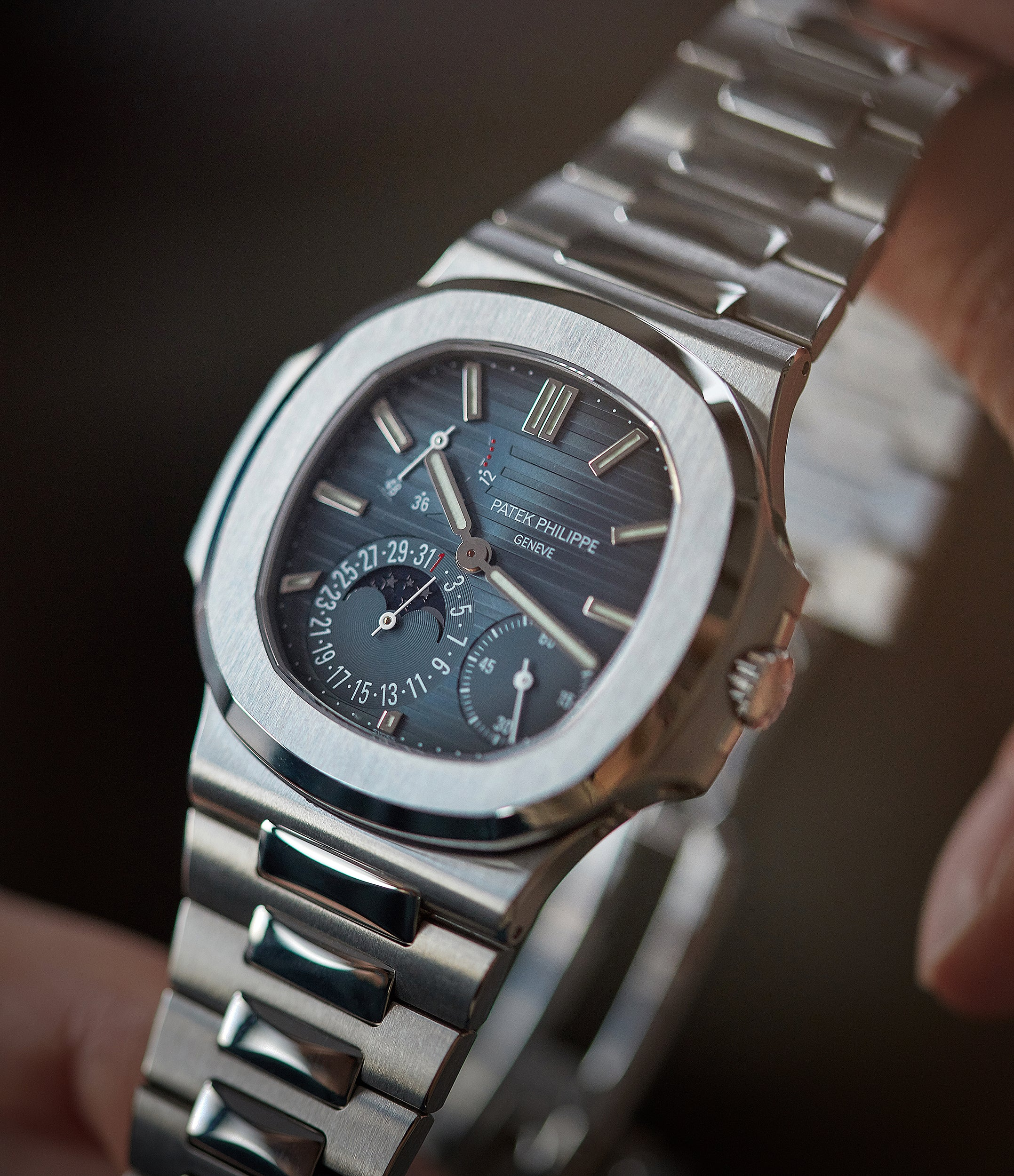 5712 Patek Philippe Nautilus Moon Phase steel pre-owned watch for sale online at A Collected Man London UK specialist of rare watches