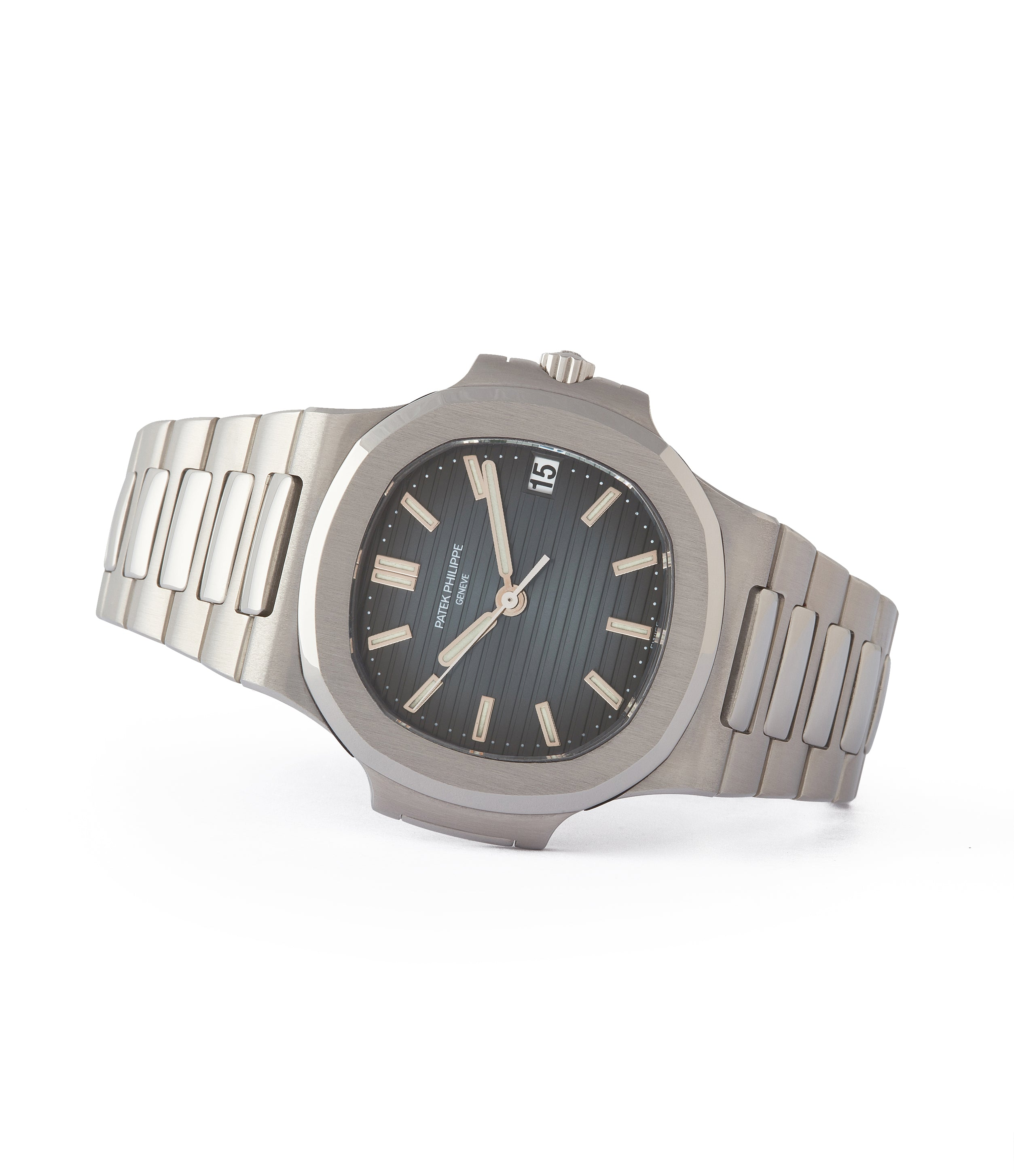 side-shot very rare Patek Philippe Nautilus 5800/1A-001 steel sport pre-owned watch for sale online at A Collected Man London UK specialist of rare watches