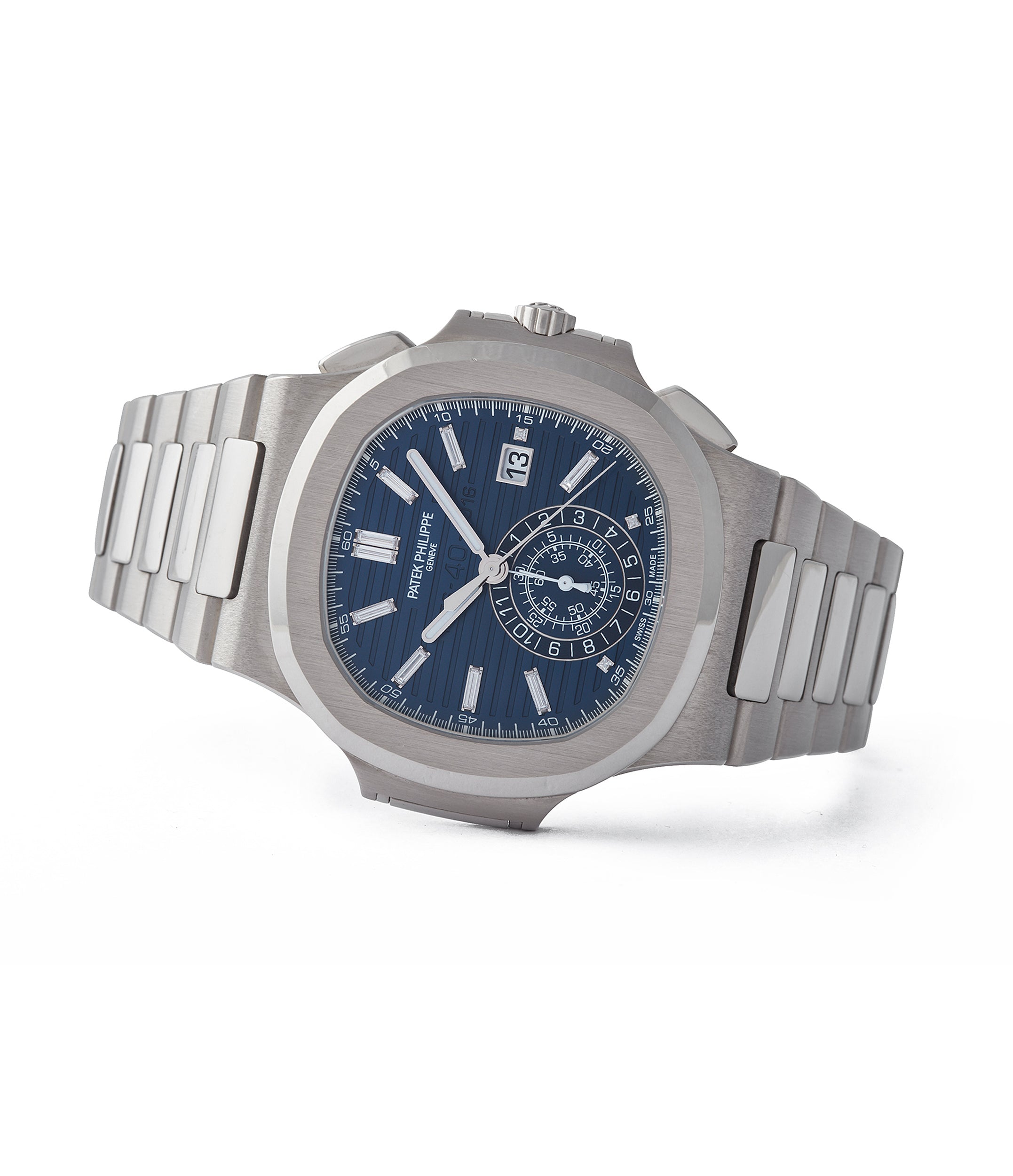 side-shot collecting Patek Philippe 40th Anniversary Nautilus 5976/1G-001 Limited Edition white gold sports pre-owned watch for sale online A Collected Man London