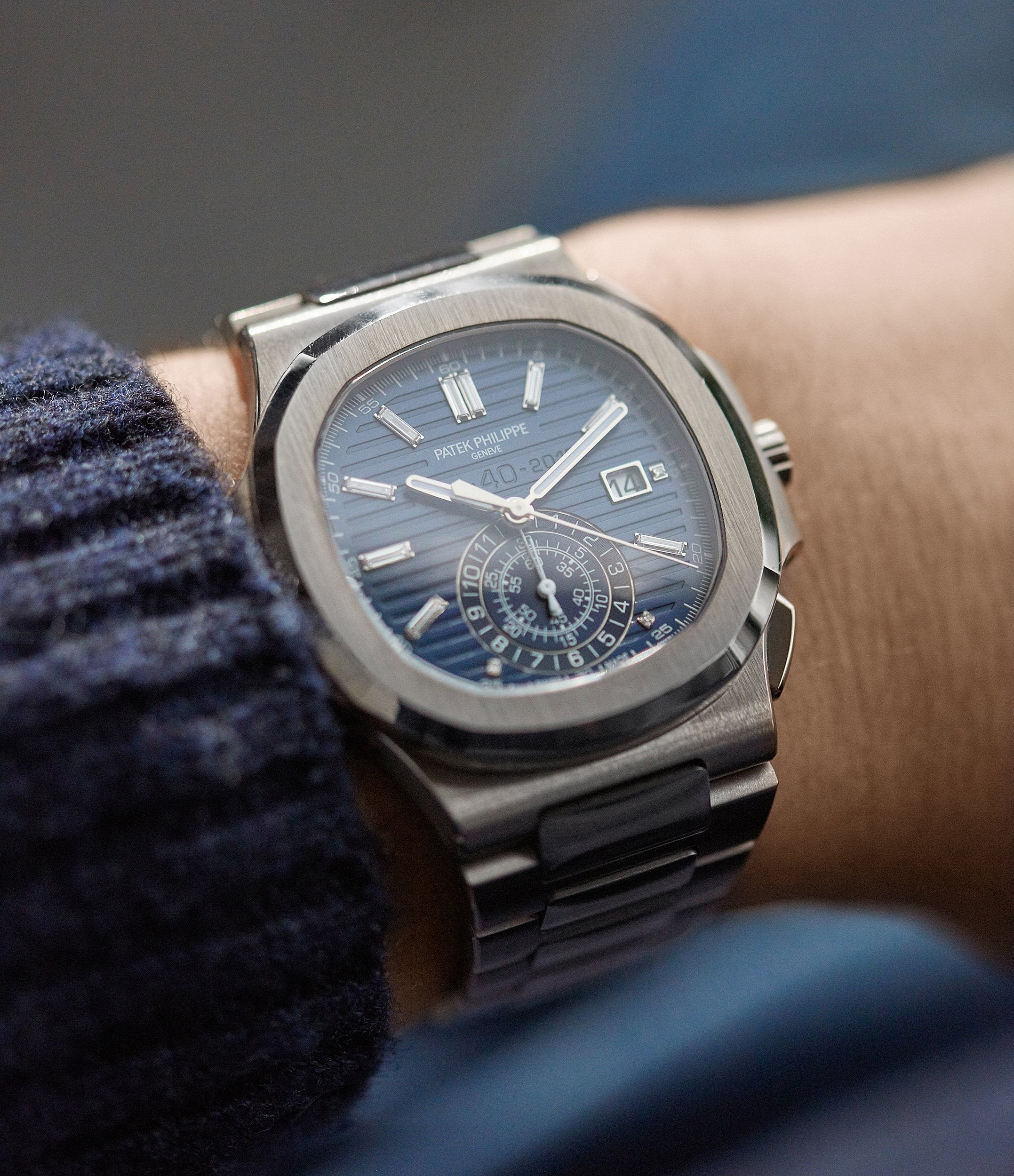 men's luxury wristwatch Patek Philippe 40th Anniversary Nautilus 5976/1G-001 Limited Edition white gold sports watch for sale online A Collected Man London