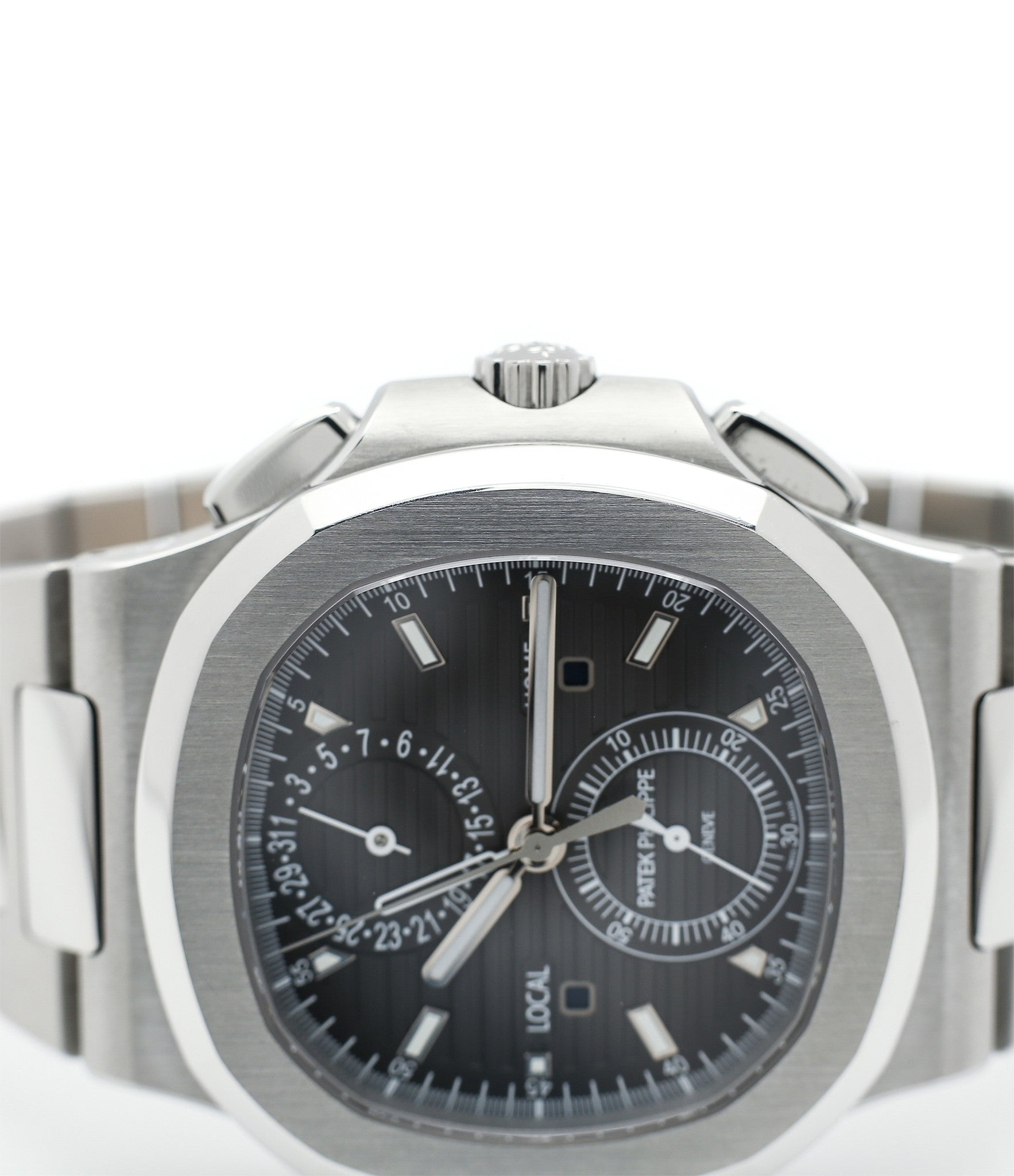 sell Patek Philippe Nautilius Travel-Time Chronograph 5990 steel pre-owned job full set from 2016 for sale online WATCH XCHANGE London with authenticity guaranteed