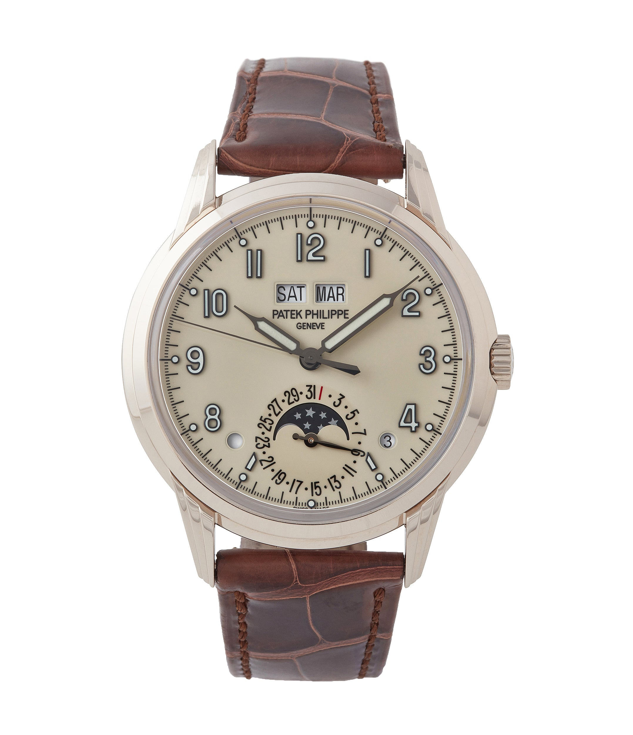 buy Patek Philippe 5320G-001 Perpetual Calendar white gold watch for sale online at A Collected Man London UK specialist of rare watches
