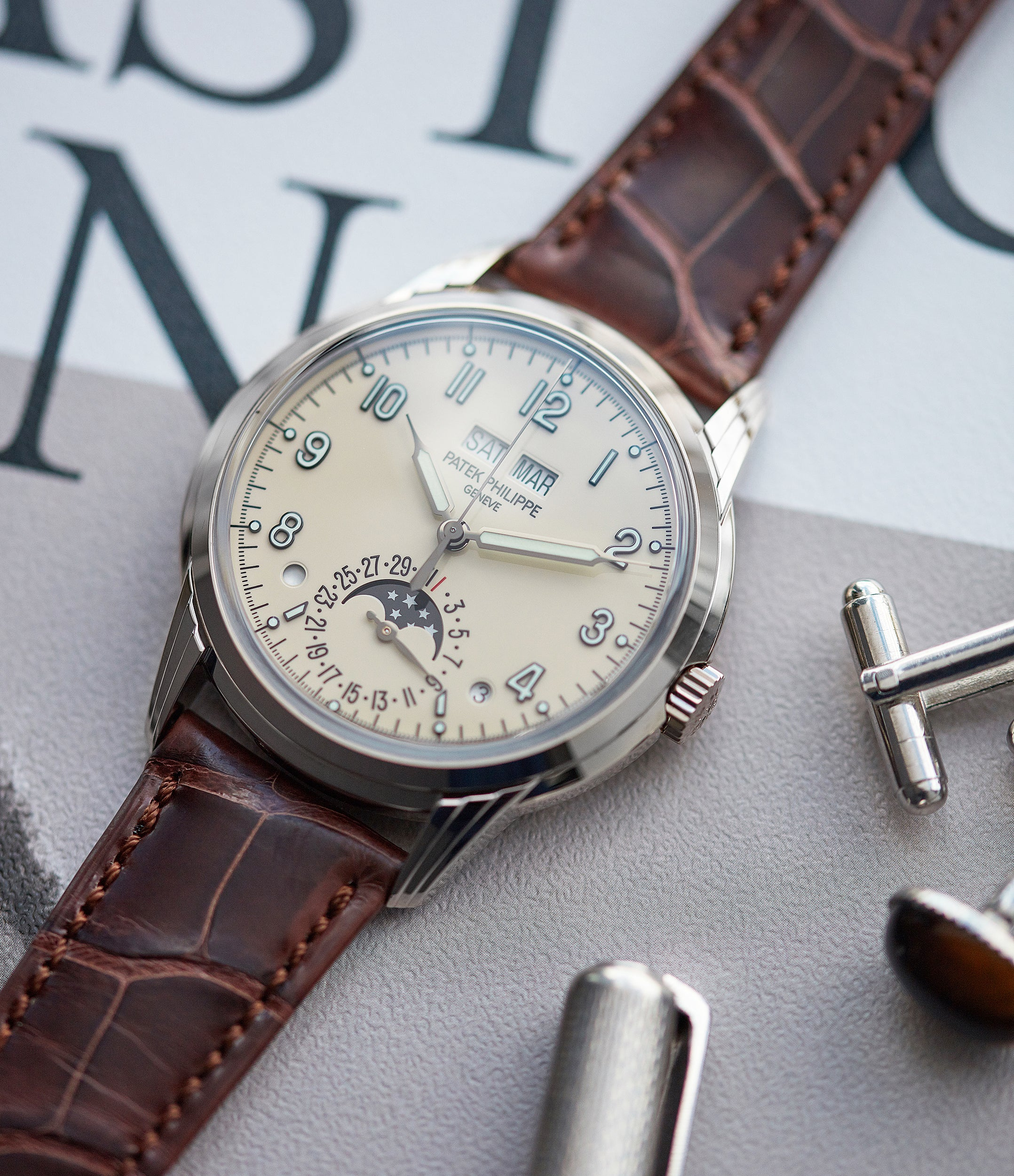 men's classic wristwatch Patek Philippe 5320G-001 Perpetual Calendar white gold watch for sale online at A Collected Man London UK specialist of rare watches