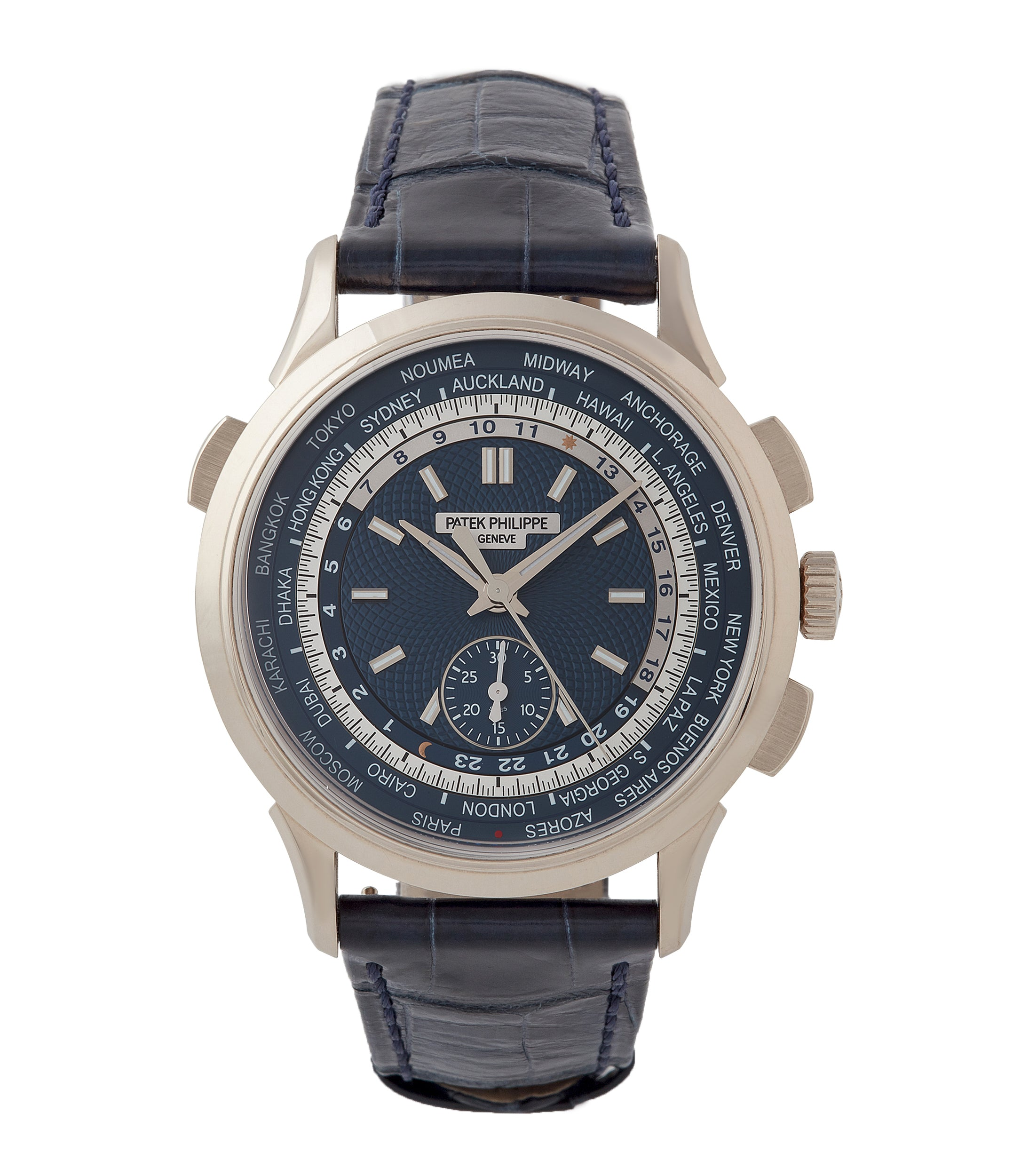 buy Patek Philippe Complications World Time Chronograph 5930G-001 white gold pre-owned watch blue dial for sale online at A Collected Man London