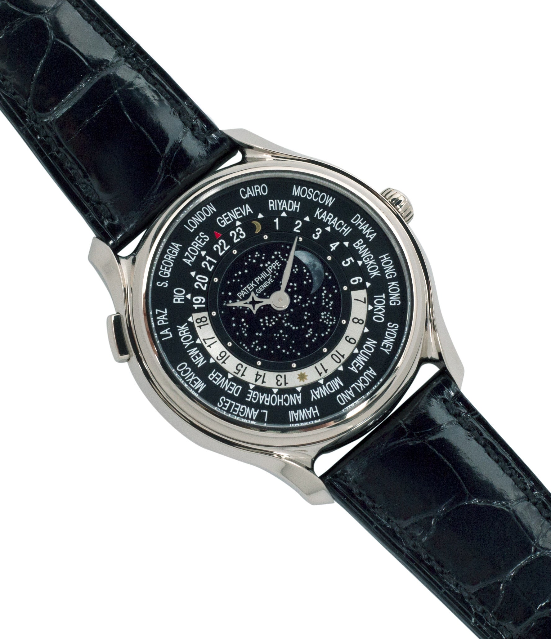 limited edition Patek Philippe Worldtimer Moonphase 5575G 175th Anniversary white gold preowned dress watch for sale online at A Collected Man London rare watch specialist