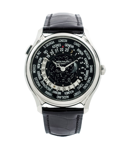 buy Patek Philippe Worldtimer Moonphase 5575G 175th Anniversary white gold preowned dress watch for sale online at A Collected Man London rare watch specialist