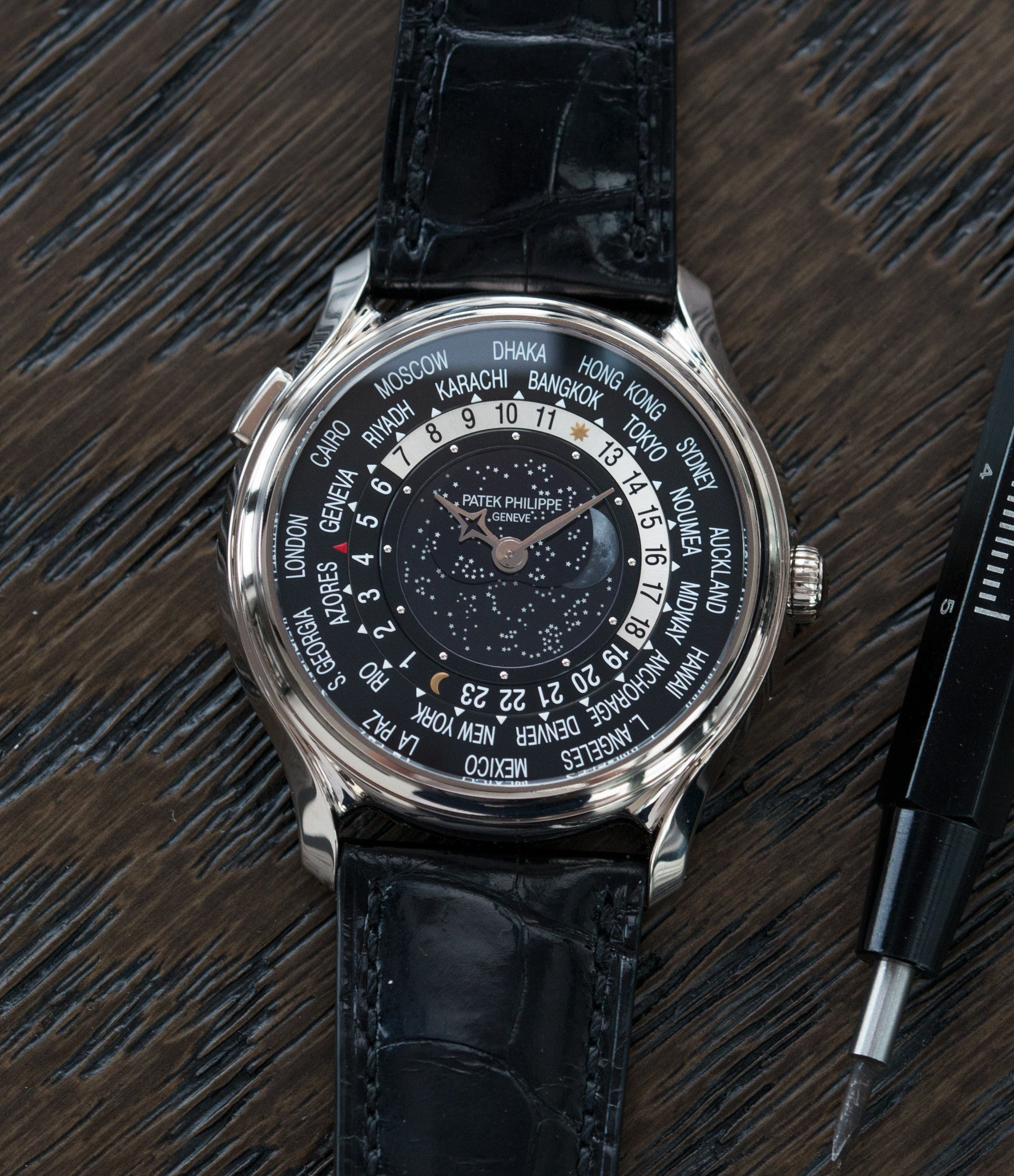 preowned Patek Philippe Worldtimer Moonphase 5575G 175th Anniversary white gold preowned dress watch for sale online at A Collected Man London rare watch specialist