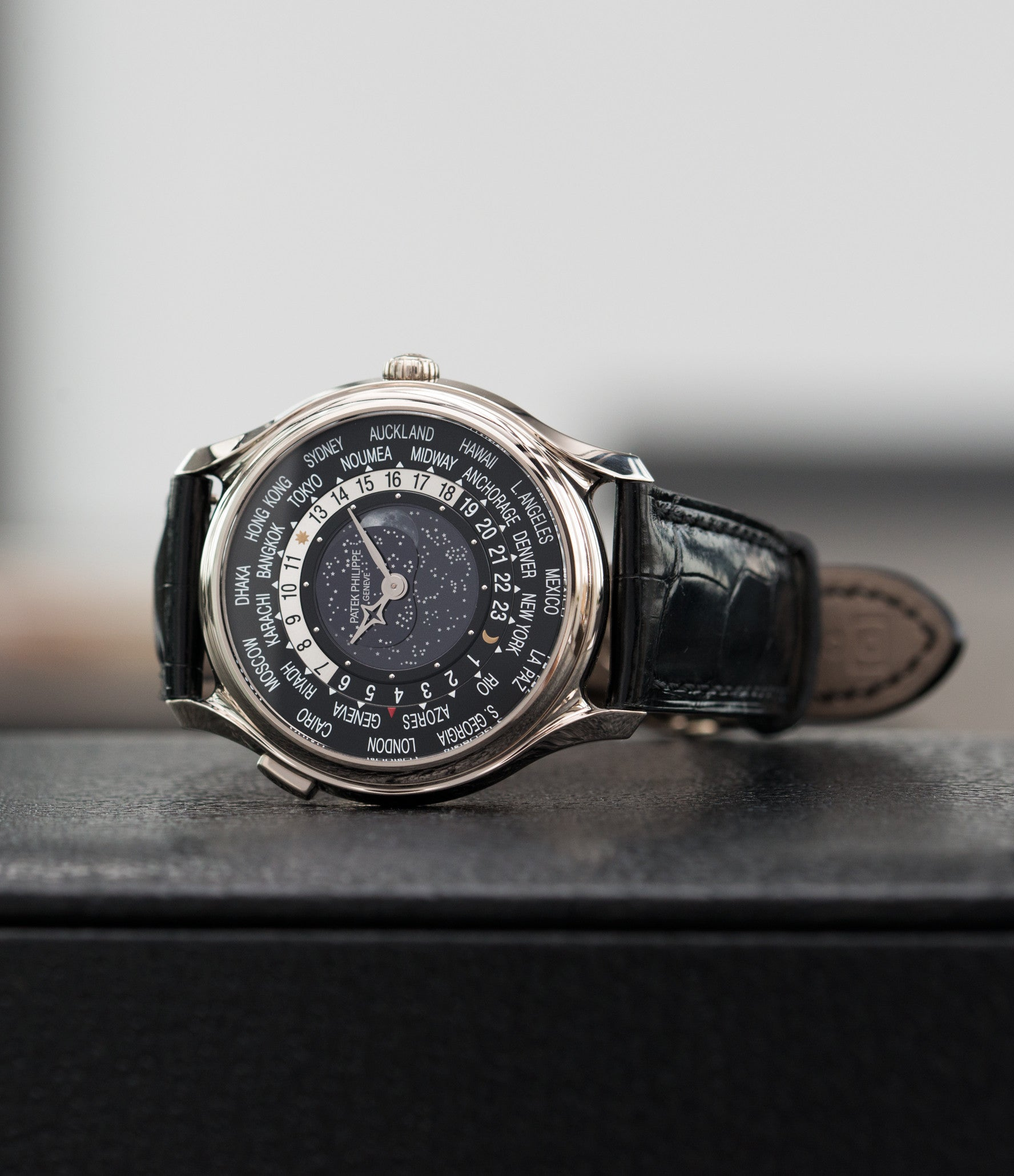 rare Patek Philippe Worldtimer Moonphase 5575G 175th Anniversary white gold preowned dress watch for sale online at A Collected Man London rare watch specialist