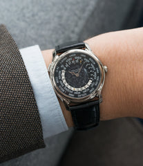 gentlemen's luxury Patek Philippe Worldtimer Moonphase 5575G 175th Anniversary white gold preowned dress watch for sale online at A Collected Man London rare watch specialist