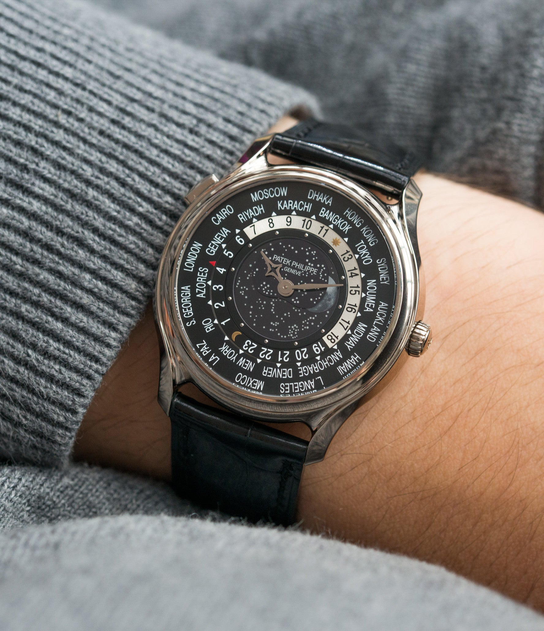 on the wrist Patek Philippe Worldtimer Moonphase 5575G 175th Anniversary white gold preowned dress watch for sale online at A Collected Man London rare watch specialist