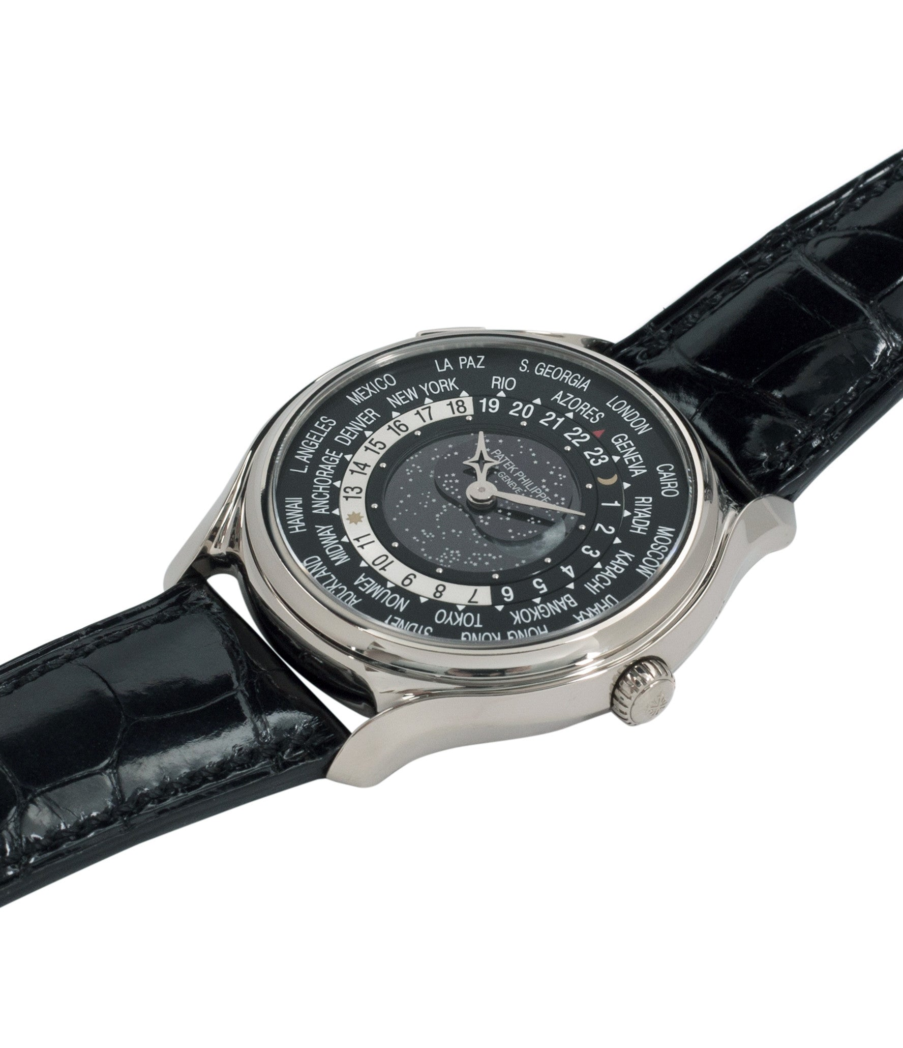 buy preowned Patek Philippe Worldtimer Moonphase 5575G 175th Anniversary white gold dress watch for sale online at A Collected Man London rare watch specialist