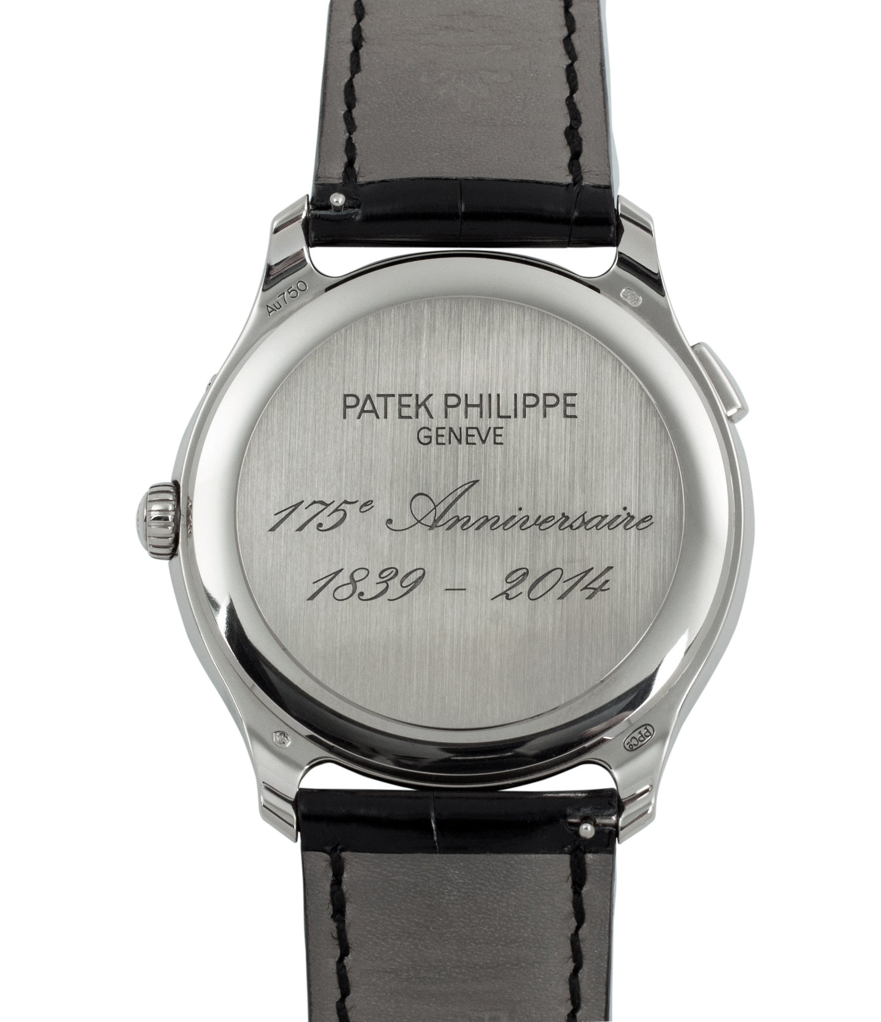 5575G Patek Philippe Worldtimer Moonphase 175th Anniversary white gold preowned dress watch for sale online at A Collected Man London rare watch specialist