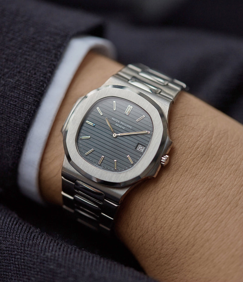 on the wrist vintage Patek Philippe Nautilus 3700/001 full set sport watch for sale online at A Collected Man London UK specialist of rare watches