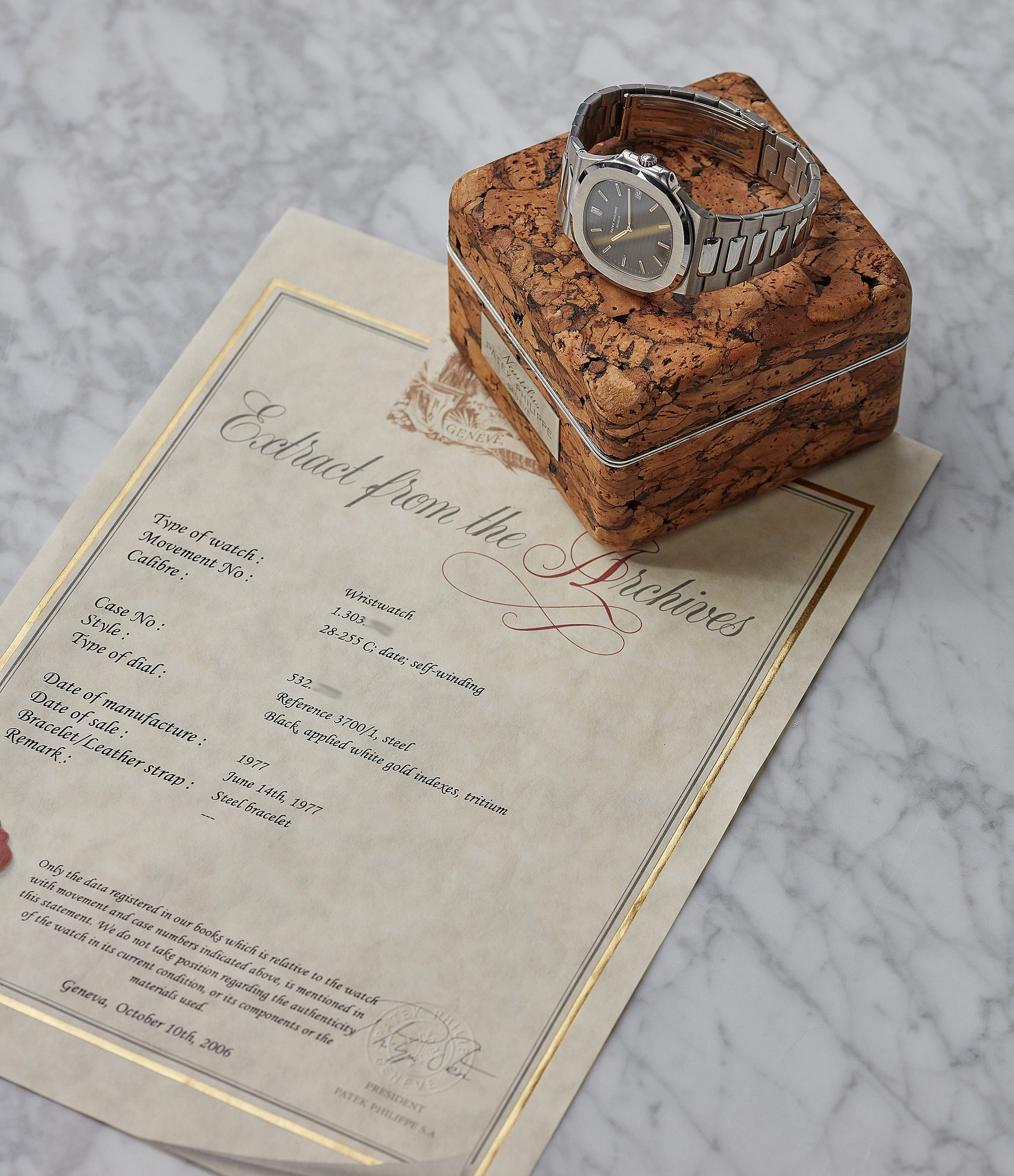 full set Archive Extract Patek Philippe cork box Nautilus 3700/001 sport watch for sale online at A Collected Man London UK specialist of rare watches