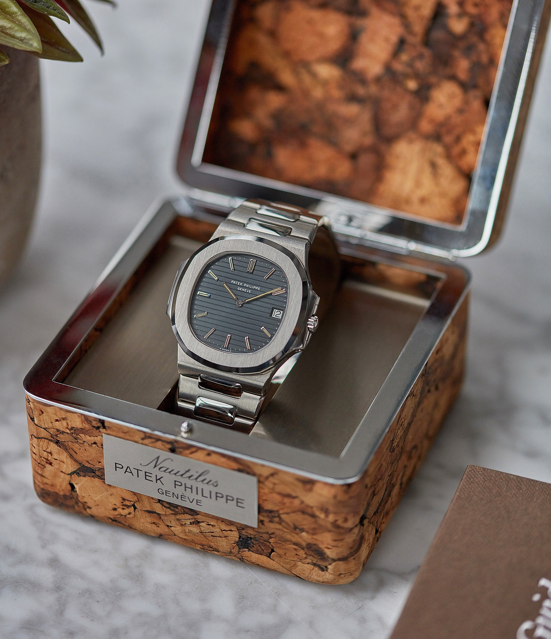 Patek Philippe cork box Nautilus 3700/001 full set sport watch for sale online at A Collected Man London UK specialist of rare watches