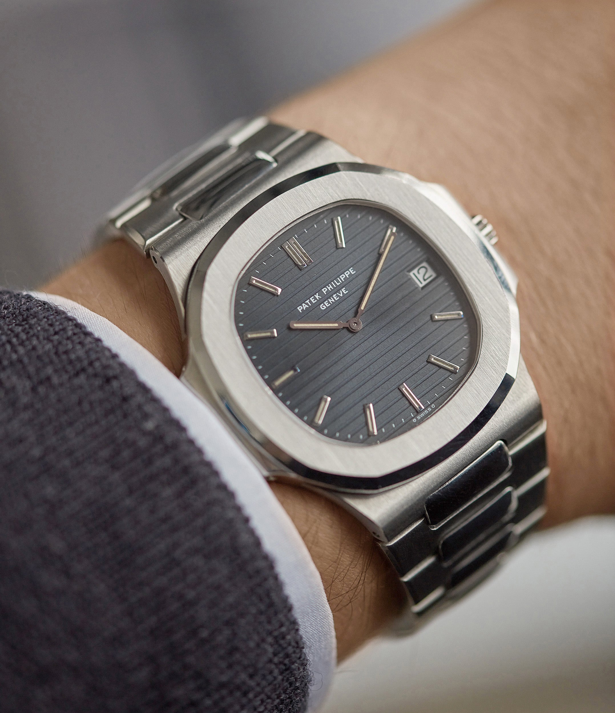 hands-on with Patek Philippe Nautilus 3700/001 full set sport watch for sale online at A Collected Man London UK specialist of rare watches