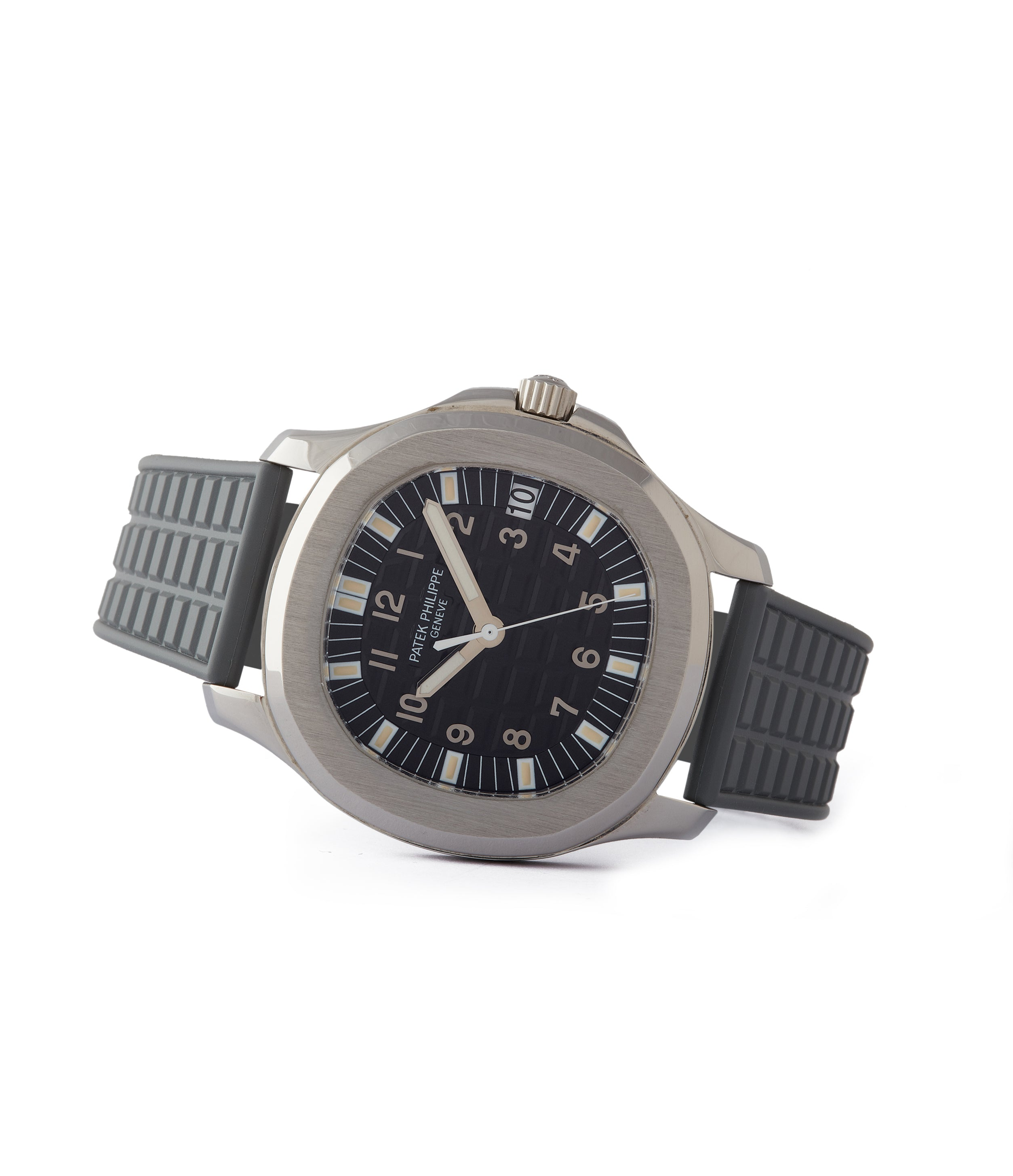side-shot steel Patek Philippe Aquanaut 5065/1A-010 Jumbo sport pre-owned watch for sale online at A Collected Man London UK specialist of rare watches