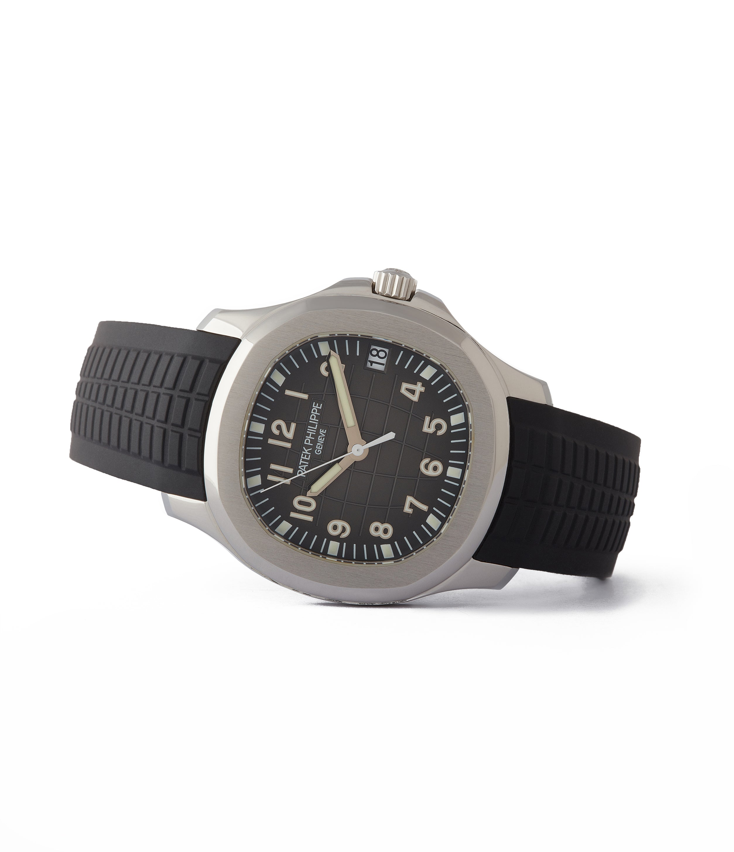 side-shot Patek Philippe Aquanaut 5165A-001 transitional steel sport watch for sale online at A Collected Man London UK specialist of rare watches
